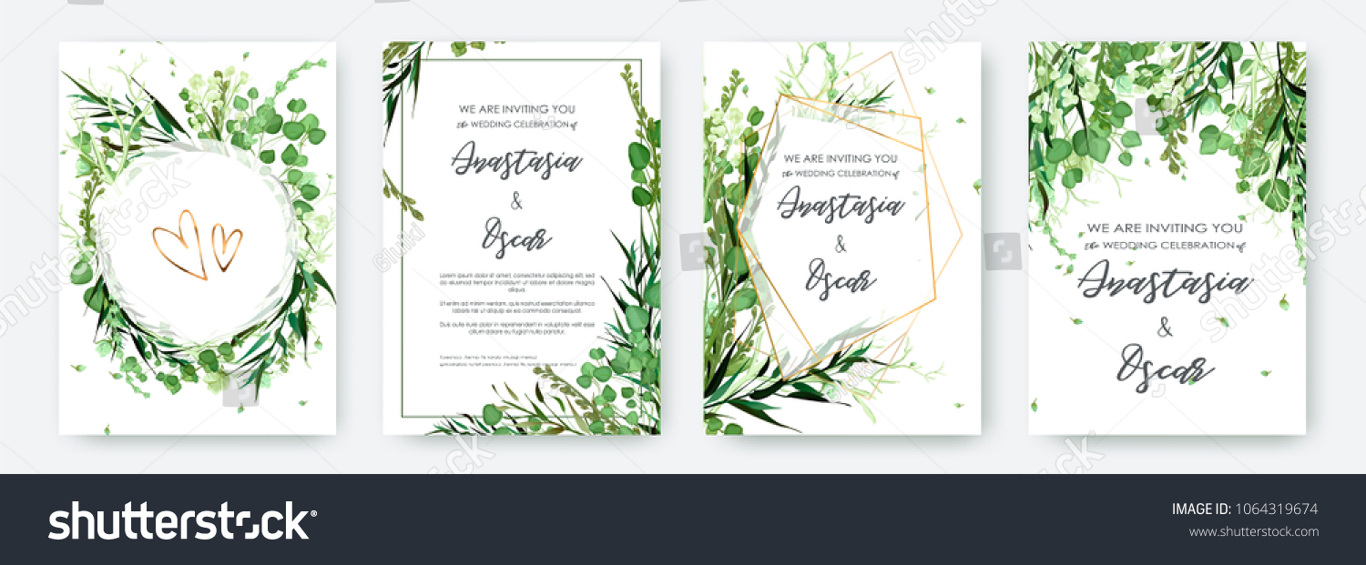 Wedding invitation frame set; flowers, leaves, watercolor, isolated on white. Sketched wreath, floral and herbs garland with green, greenery color. Handdrawn Vector Watercolour style, nature art. #1064319674