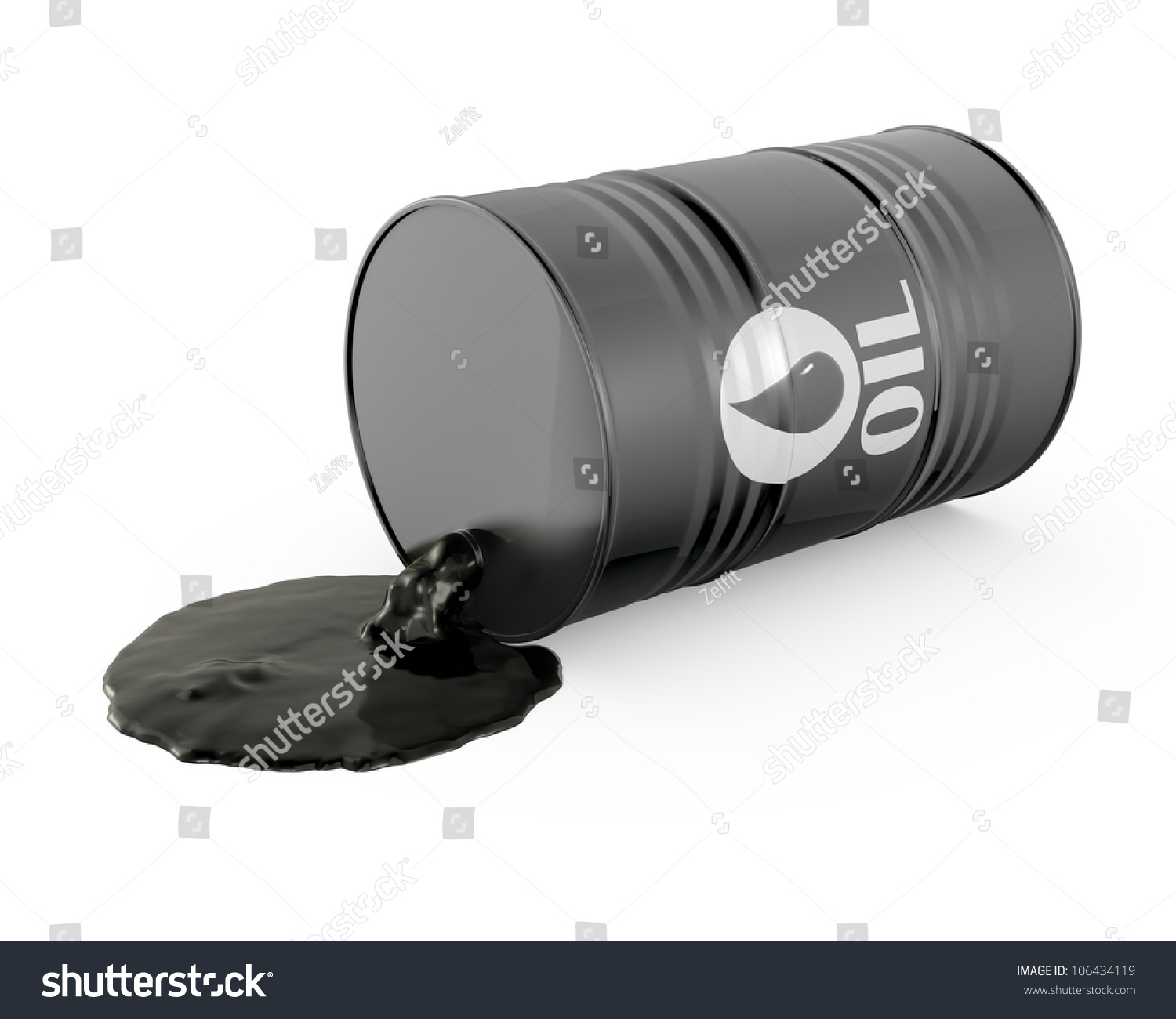 Oil is spilling from the barrel isolated on white for Motor oil by the barrel