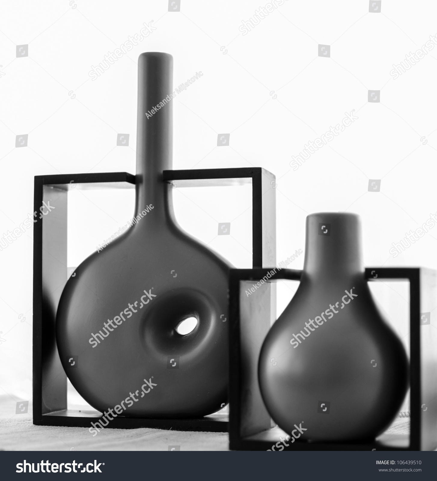 modern vases on shelf