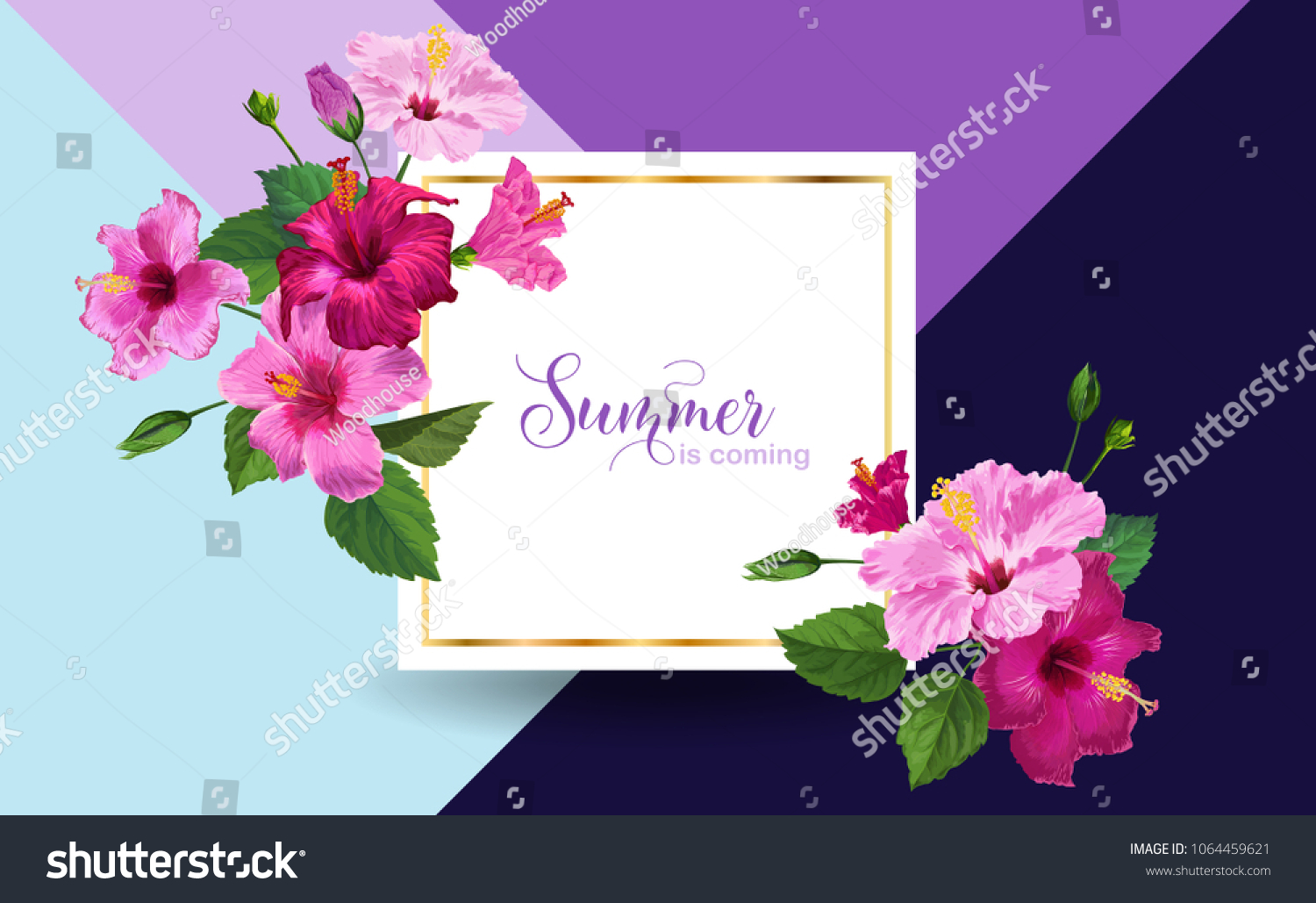 Hello summer poster floral design pink stock vector royalty free floral design with pink hibiscus flowers for party invitation banner izmirmasajfo