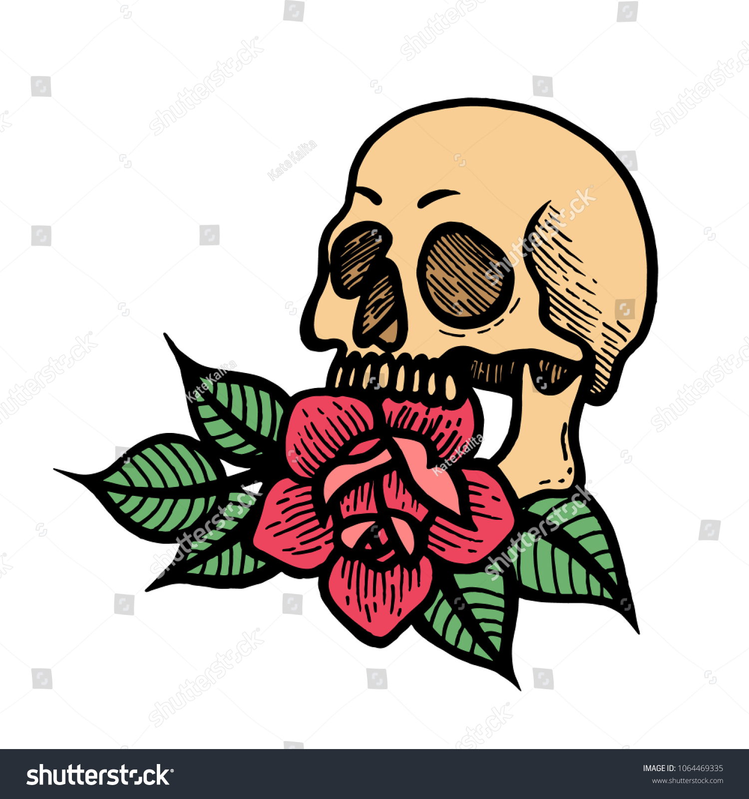 Old School Rose Tattoo Skull Traditional Stock Vector Royalty Free