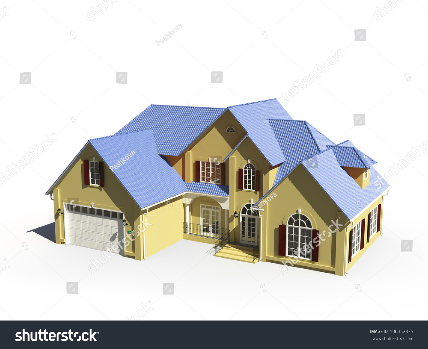 Yellow House Blue Roof Stock Illustration 106452335