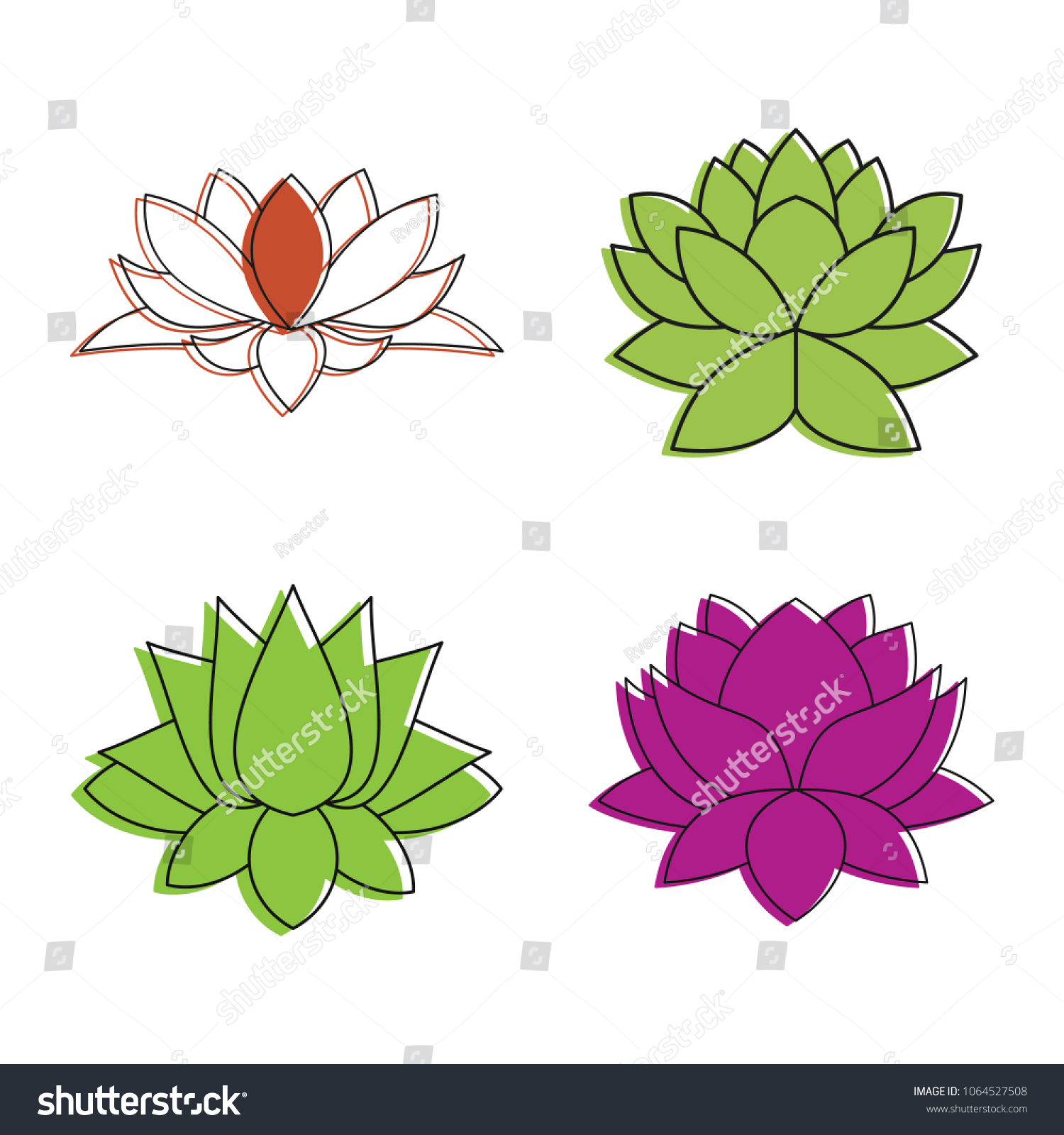 Lotus Flower Icon Set Color Outline Stock Vector 1064527508