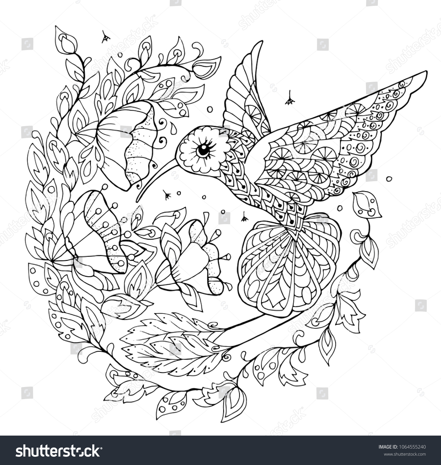 Hummingbird Coloring Book Stock Vector (Royalty Free) 1064555240
