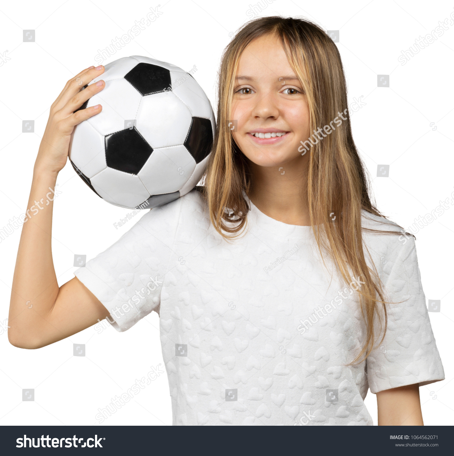 bb6b0555e little girl with a soccer ball isolated on a over white background