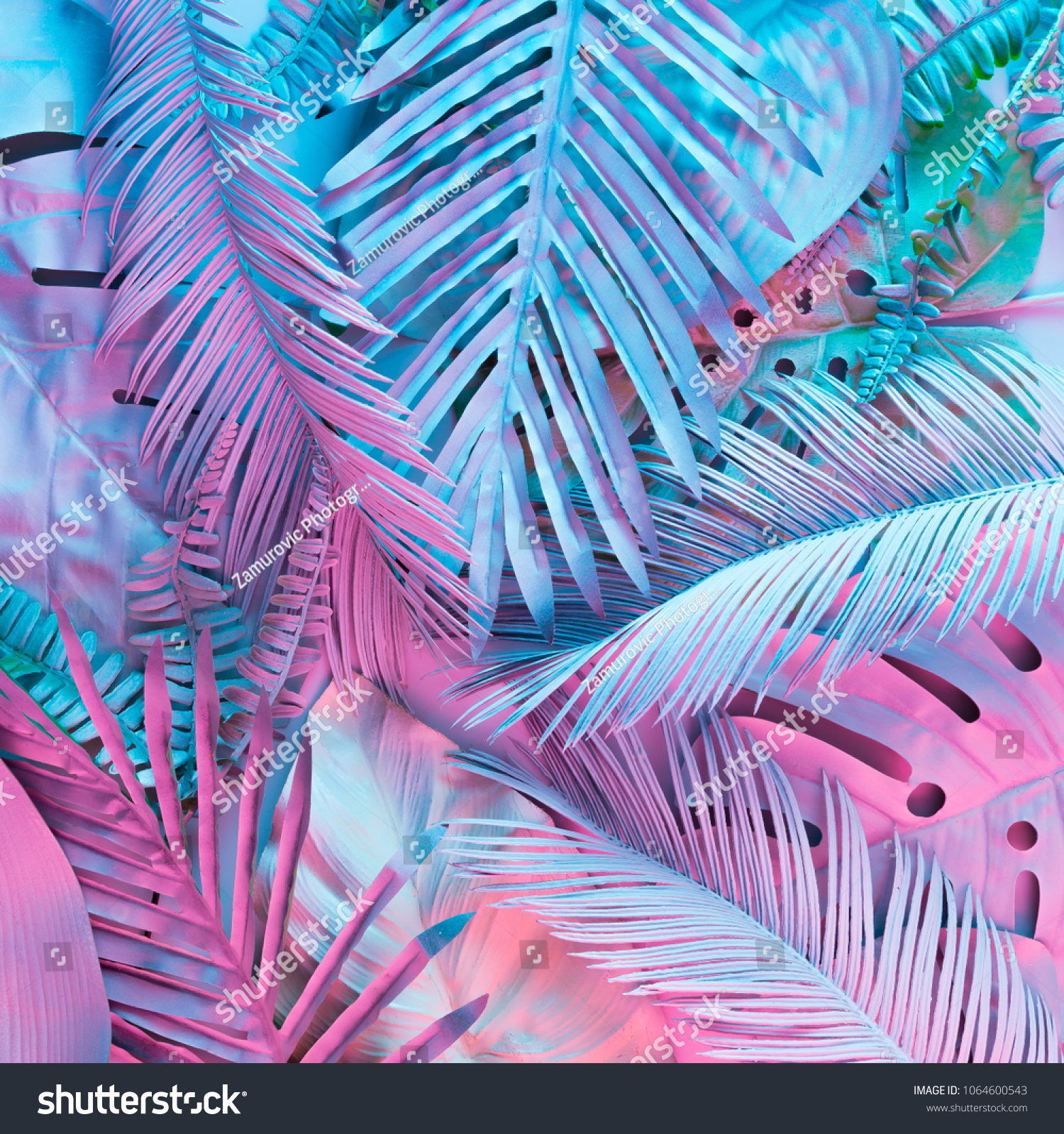 Tropical and palm leaves in vibrant bold gradient holographic neon  colors. Concept art. Minimal surrealism background. #1064600543