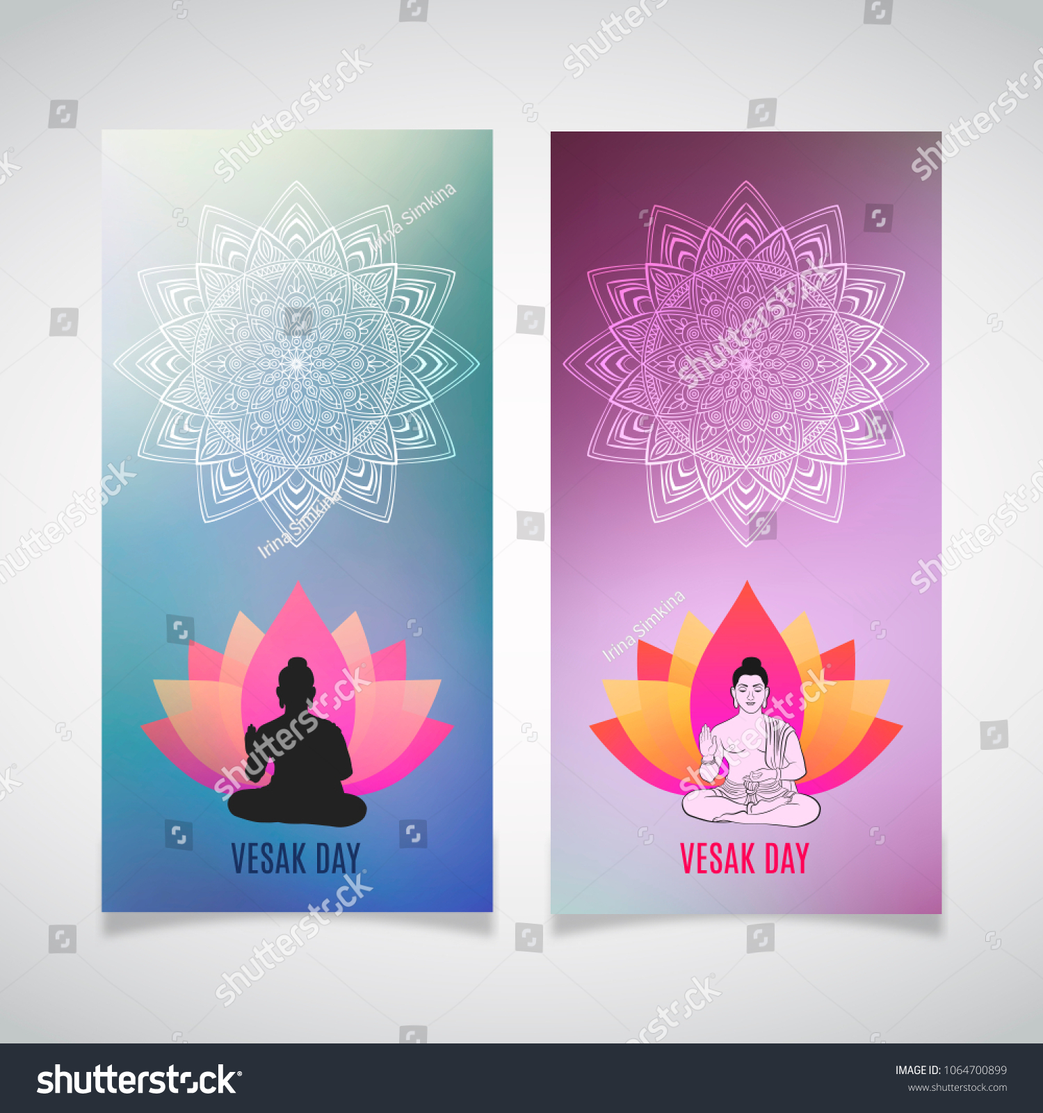 Greeting Cards Happy Vesak Day Buddha Stock Vector Royalty Free