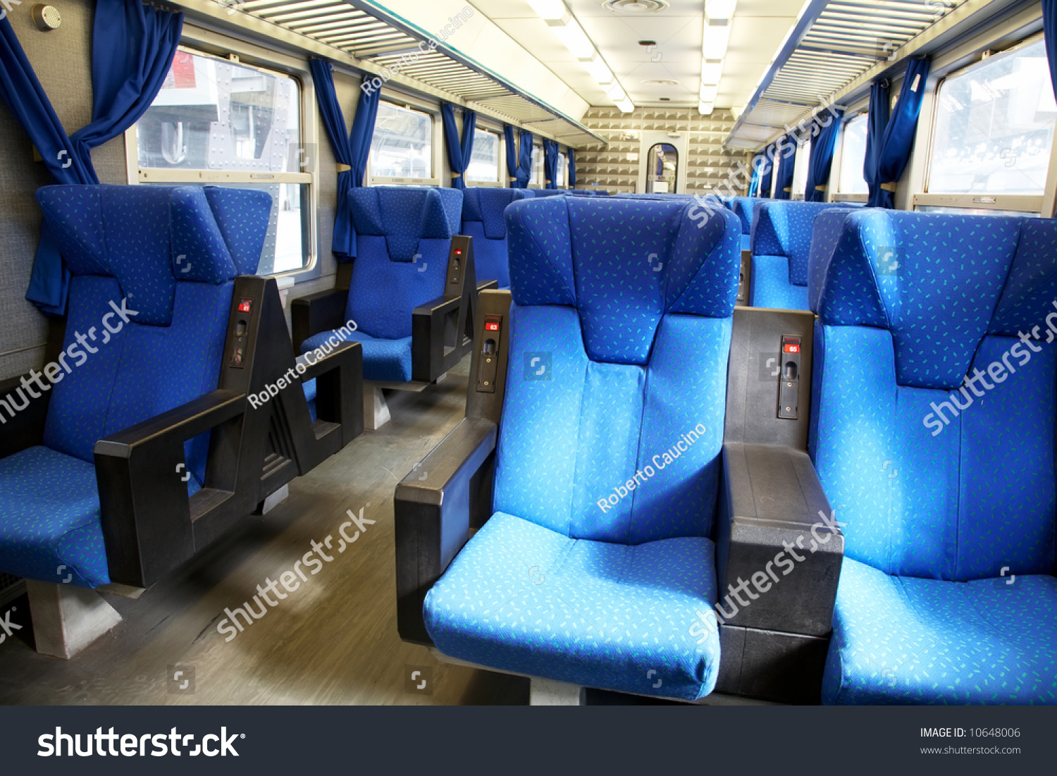 Vacant Seats Inside An Empty Passenger Train. Horizontal ...