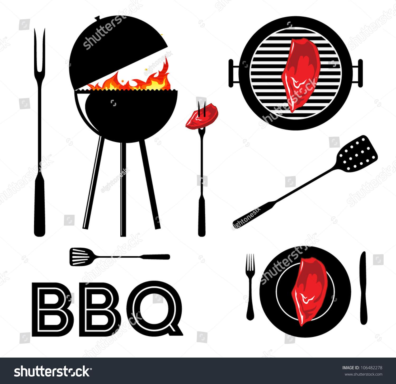 Vintage Cartoon Barbecue Party Tool Set Stock Vector