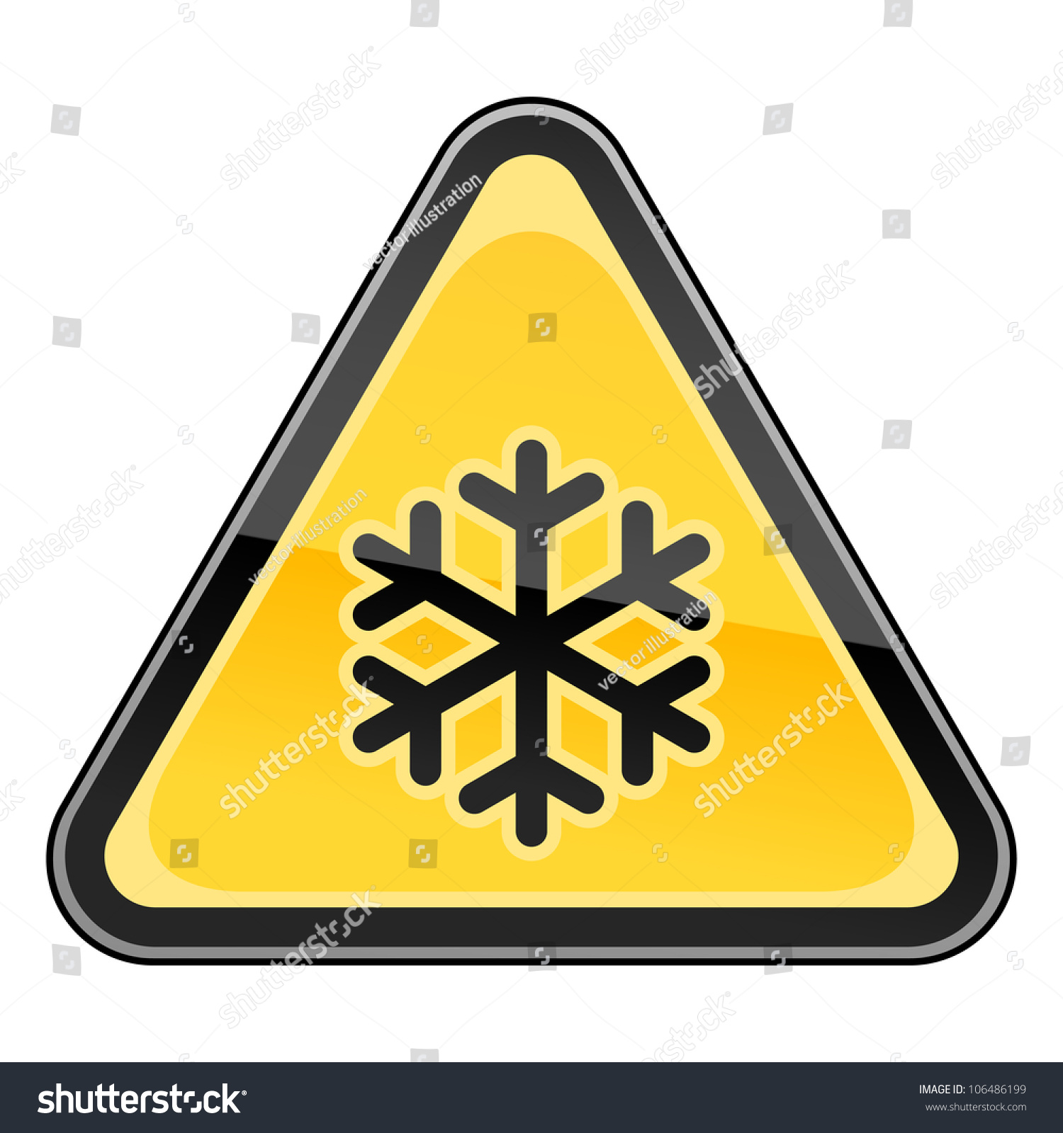 Yellow hazard sign black snowflake low stock vector 106486199 yellow hazard sign with black snowflake low temperature symbol triangular glossy shape on white background buycottarizona Image collections