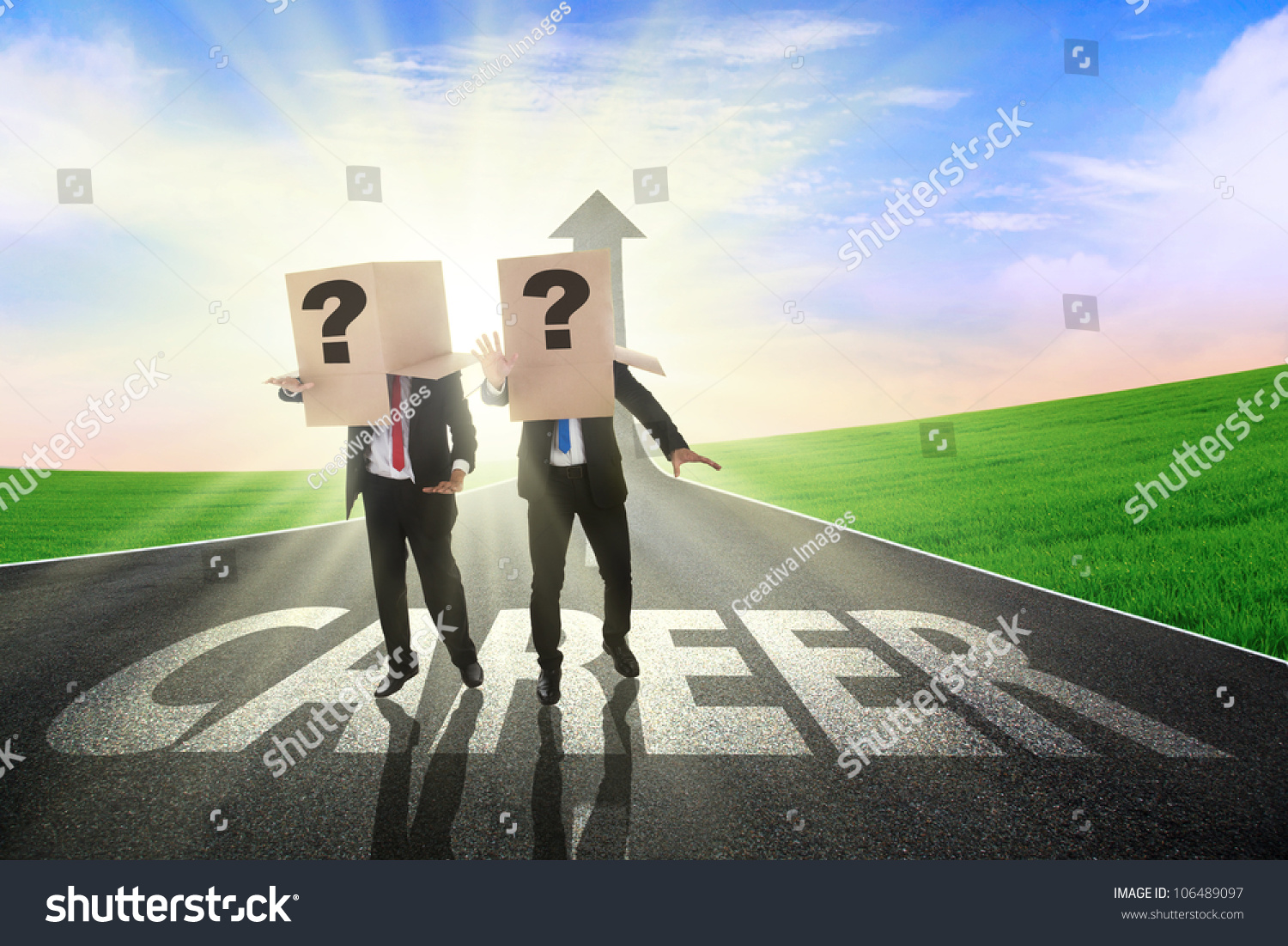 two confused businessman finding the career path heads save to a lightbox similar images