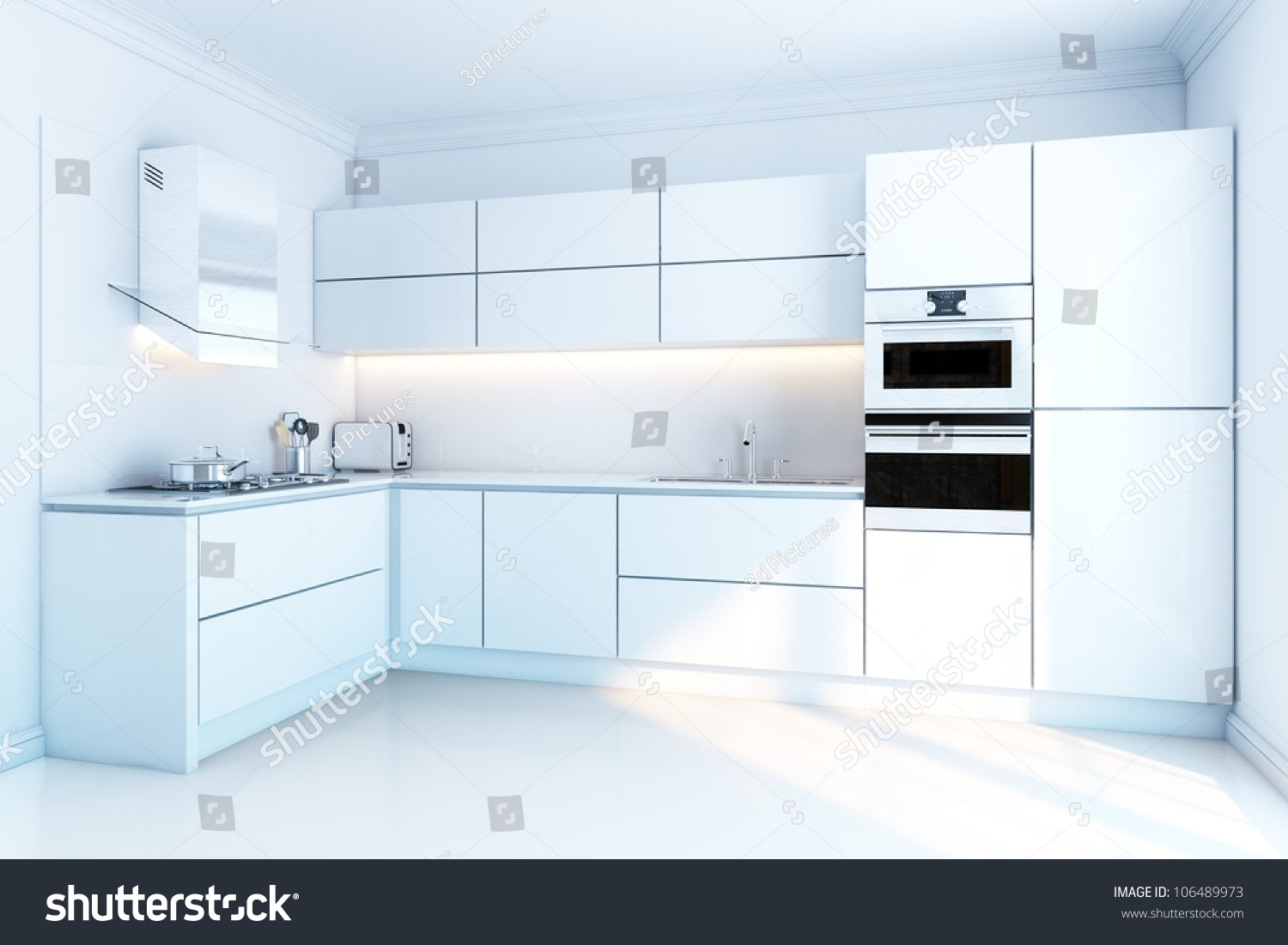 Interior design of clean modern white kitchen stock photo Clean modern interior design