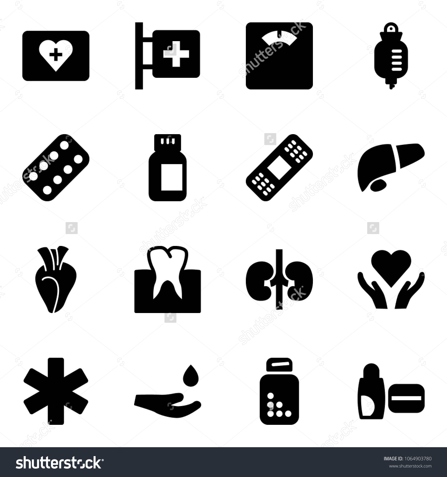 Solid Vector Icon Set First Aid Stock Vector (Royalty Free