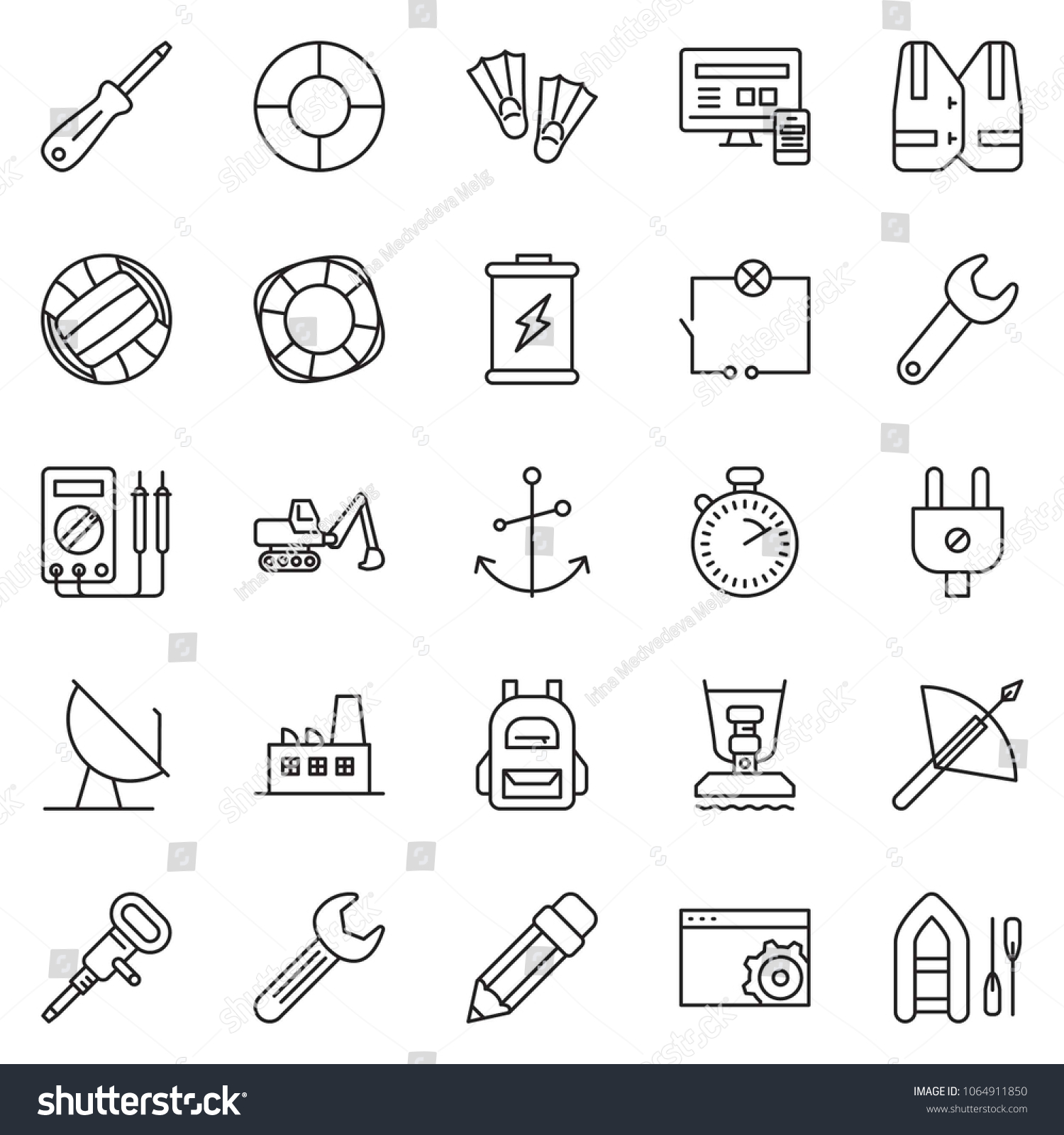 Thin Line Icon Set Monitor Phone Stock Vector Royalty Free Compactor Wiring Diagram Stopwatch Setup Page