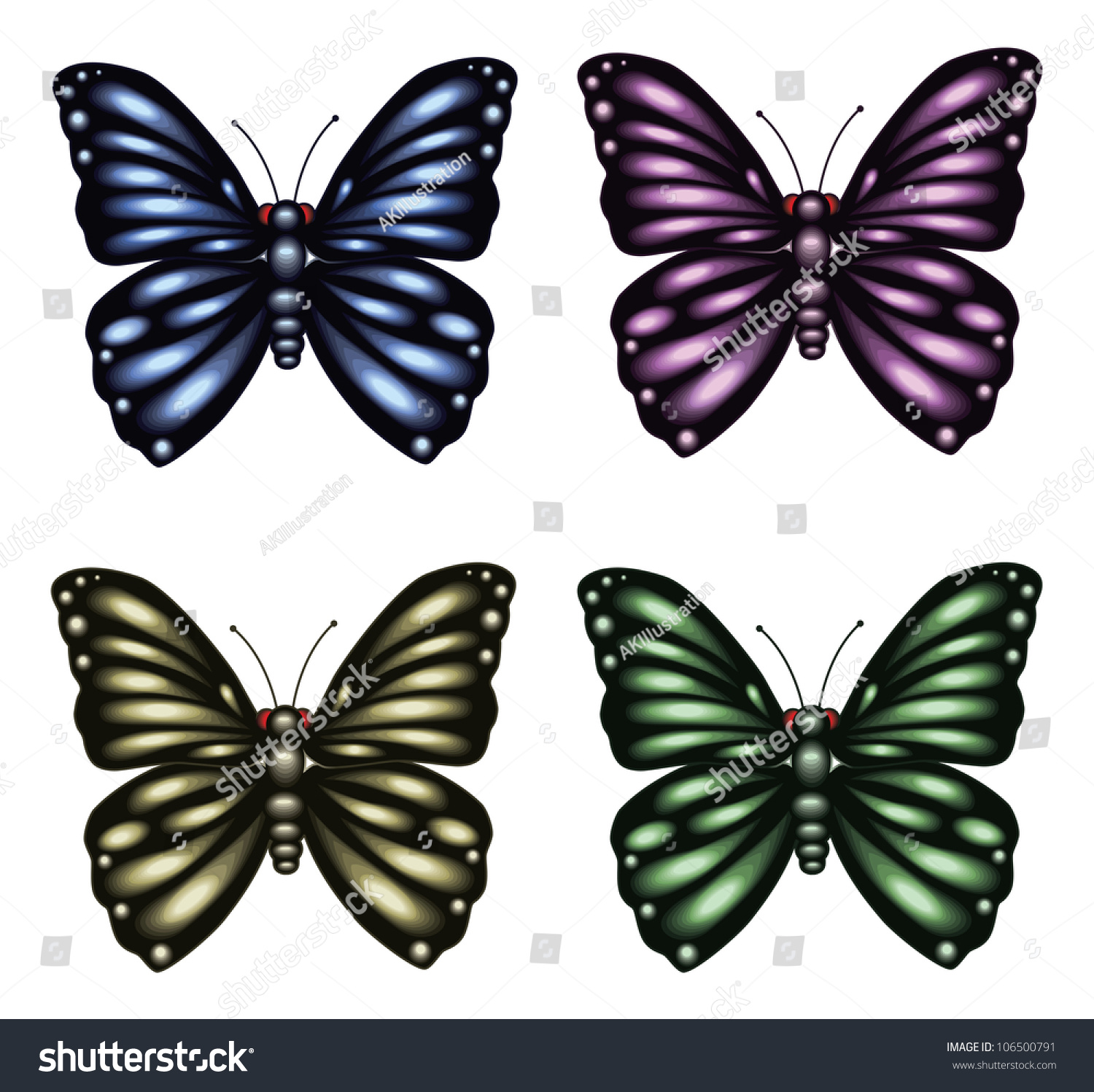 Set Of 4 Different Colored Butterflies. Raster. Stock ...