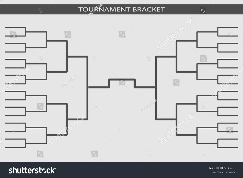 Tournament Bracket Vector 16 Teams Grid Stock Vector Royalty Free