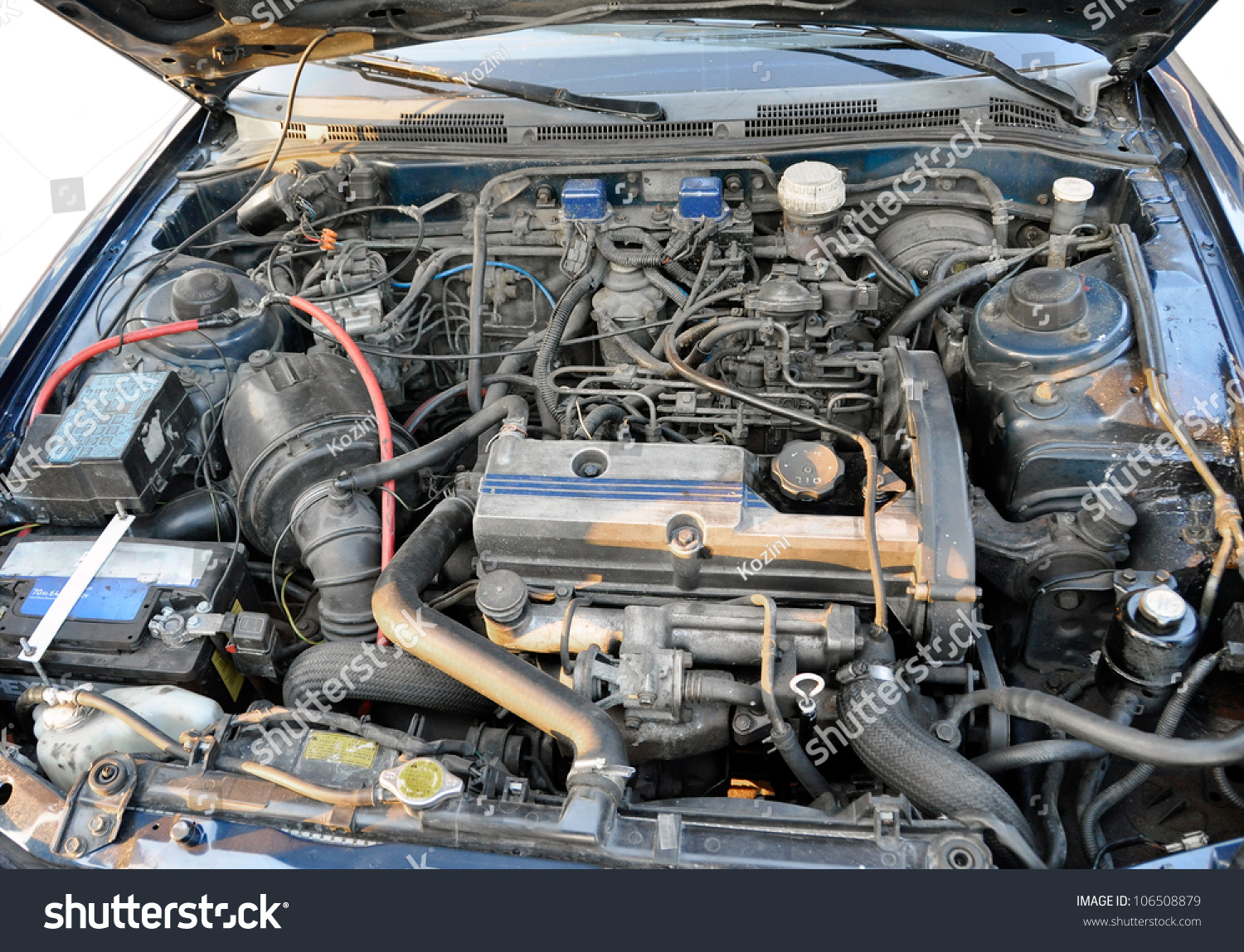 Automotive Engine Compartment Old Car Stock Photo 106508879 ...