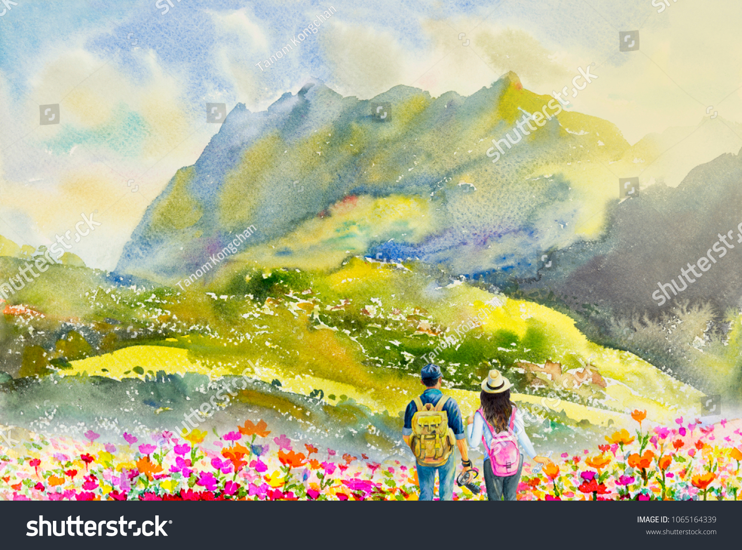 Tourist and backpack. Watercolor painting colorful illustration forest  mountain range and man 8df92e9e4bfb5