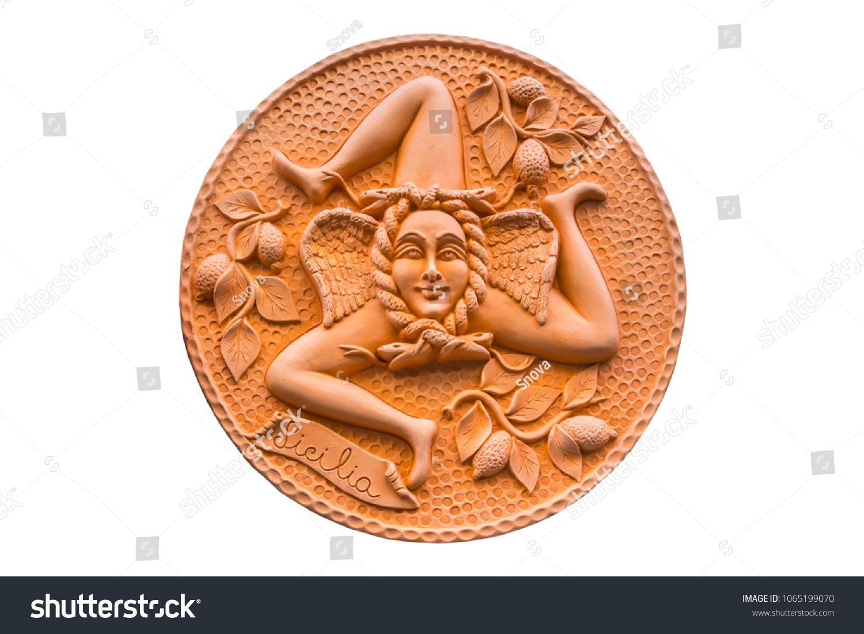 Round Clay Symbol Sicily Italy Triskelion Stock Photo Edit Now