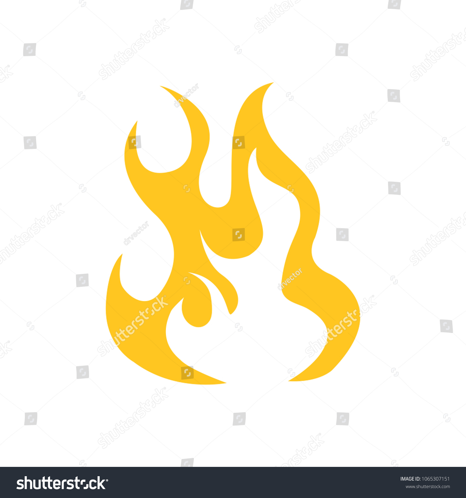 vector fire flame, fire sign -  hot burn symbol isolated #1065307151