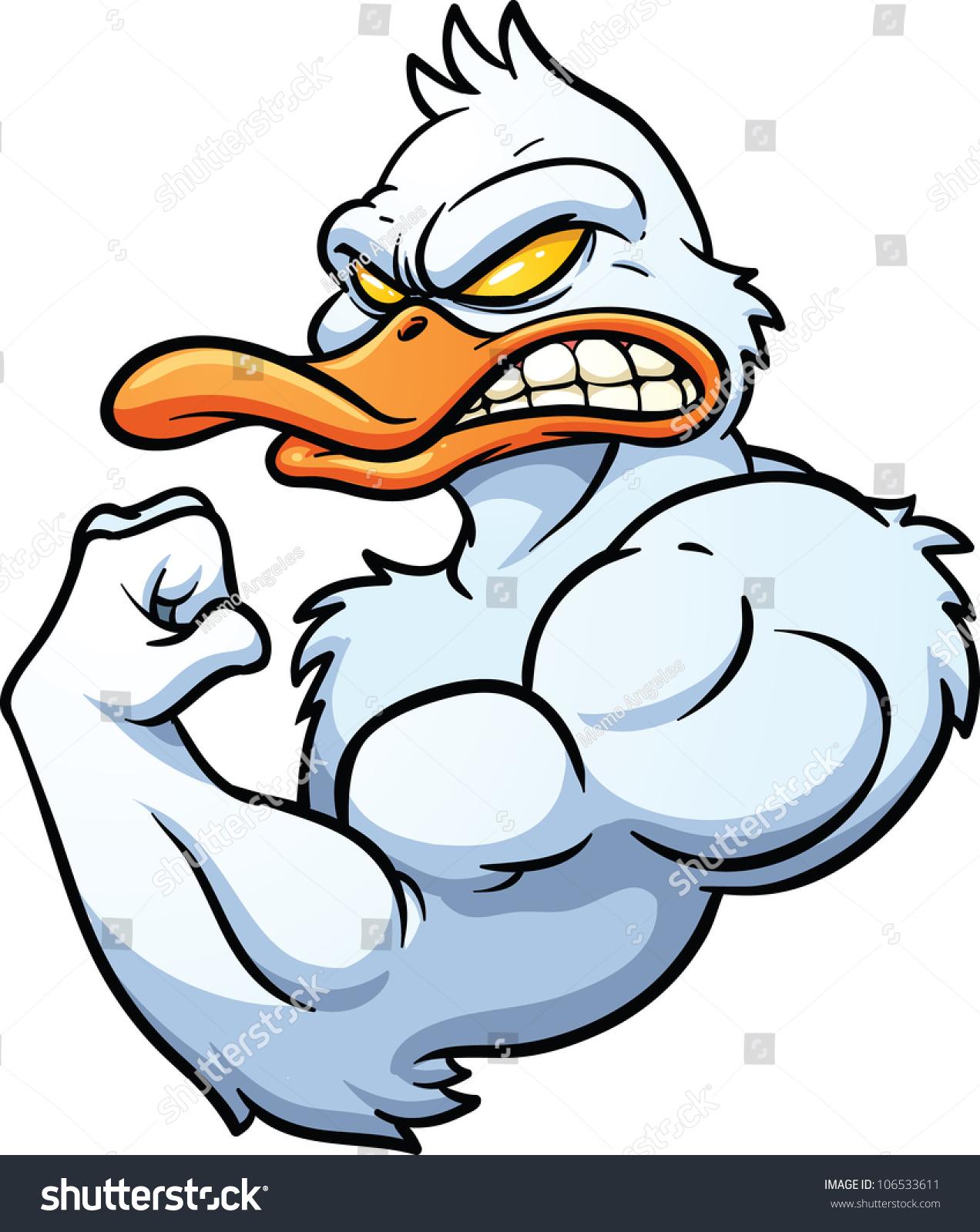 strong cartoon duck mascot vector illustration stock vector