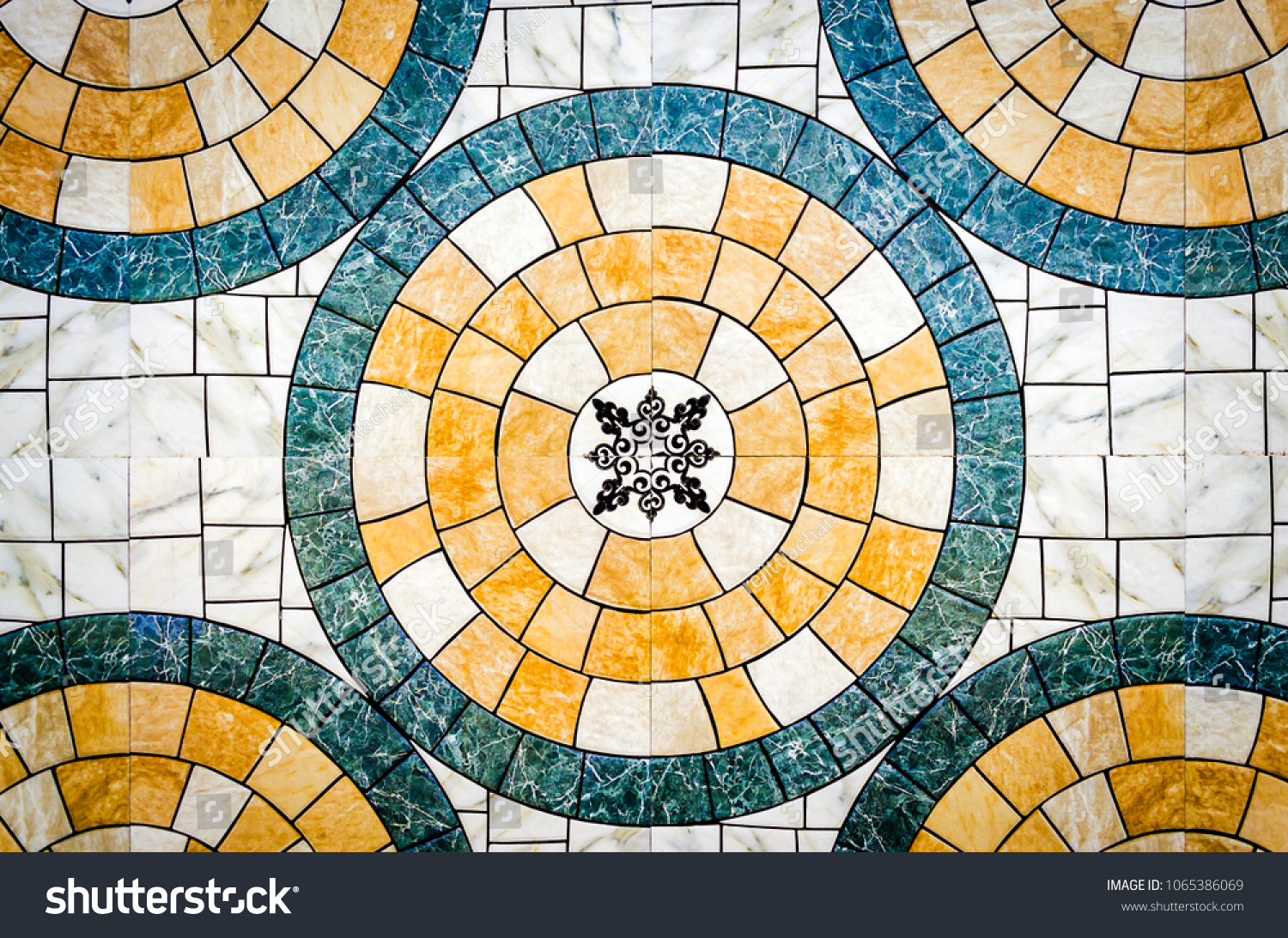 Arabic style round tile pattern. Abstract background.