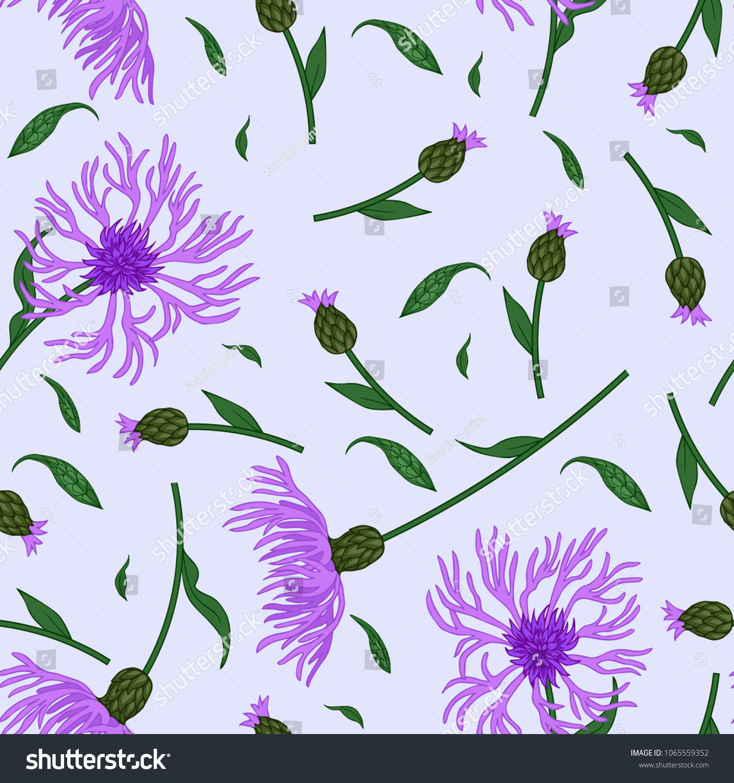 Seamless Floral Pattern Wild Meadow Flowers Stock Vector Royalty
