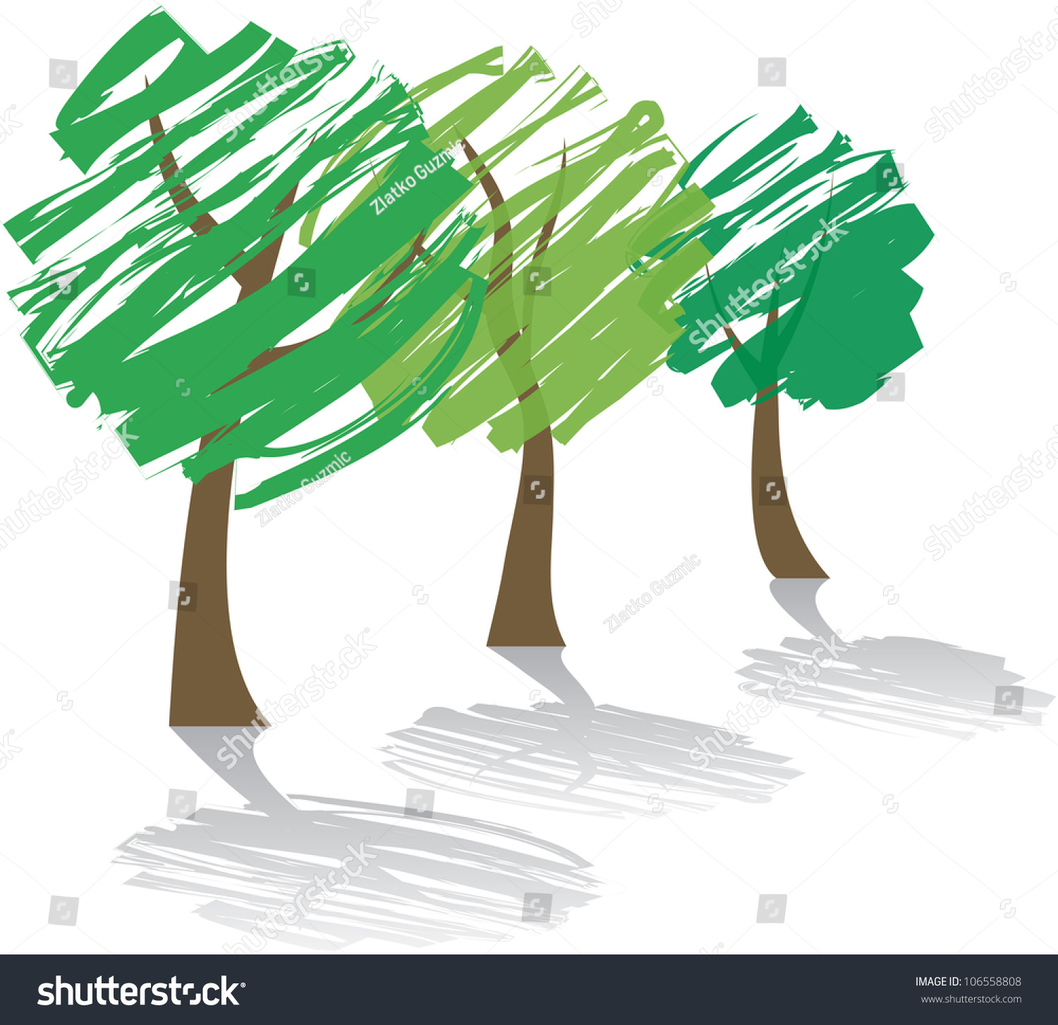 Three Abstract Trees Shadow Stock Vector 106558808 - Shutterstock