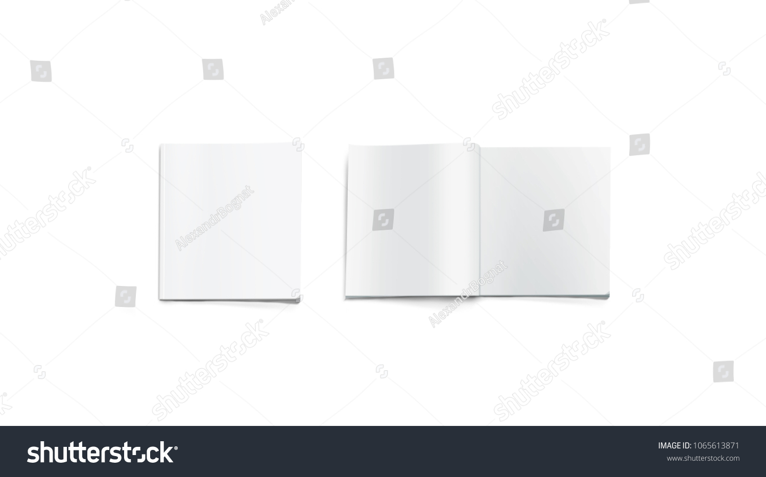 opened and closed blank square magazine mockup isolated 3d