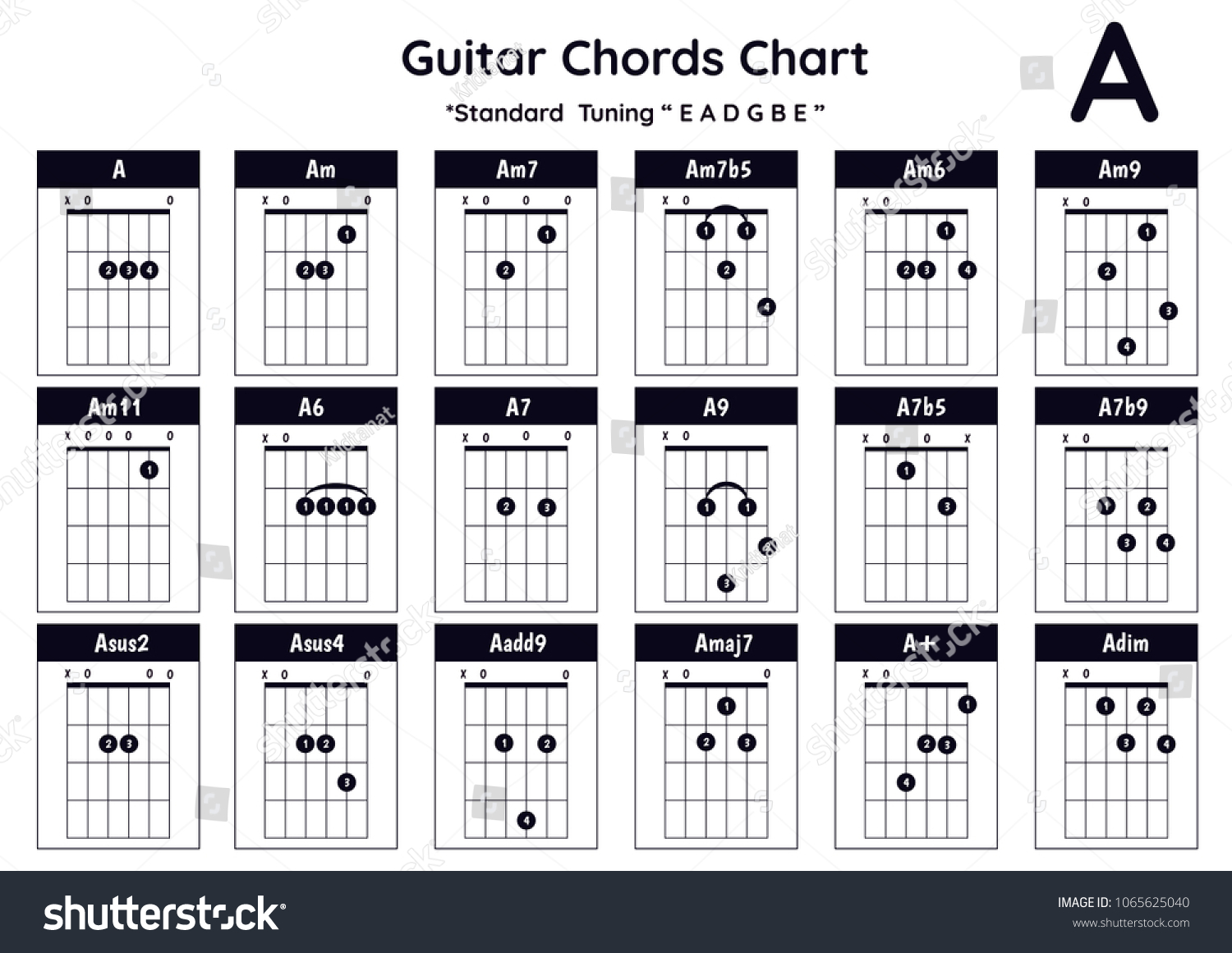 Guitar Chords A Am Am 7 Am 7 B 5 Stock Vector Royalty Free