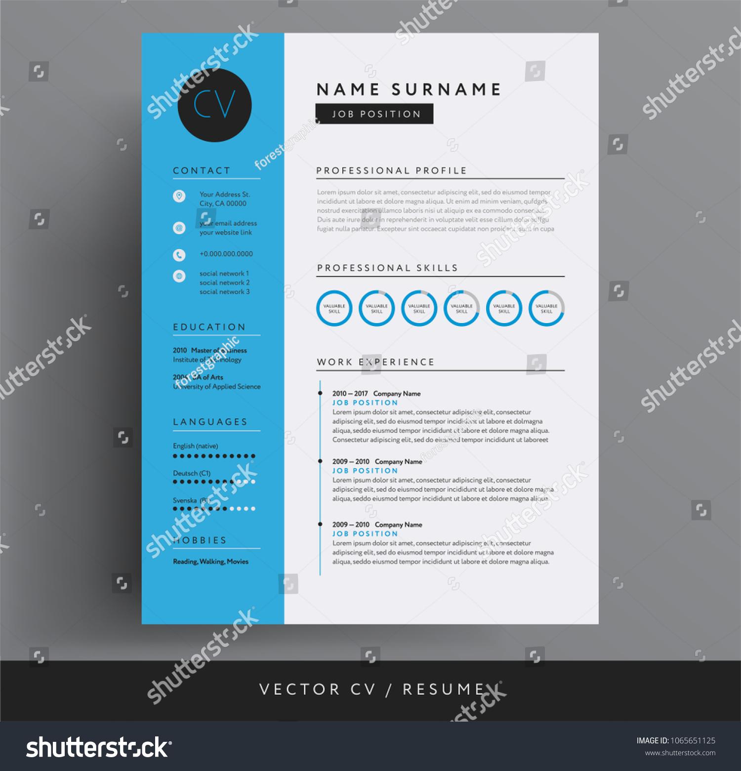 Cv Resume Design Template Blue Color Stock Vector Royalty Free