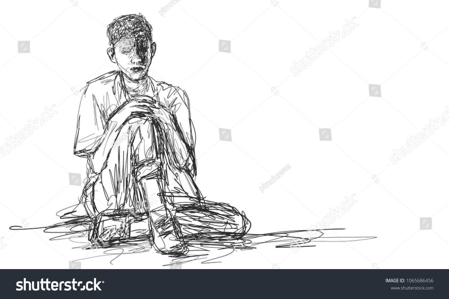 Vector art drawing of very sad young man sitting alone on white background depressed young
