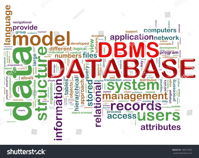 Illustration Wordcloud Dbms Database Management System Stock ...