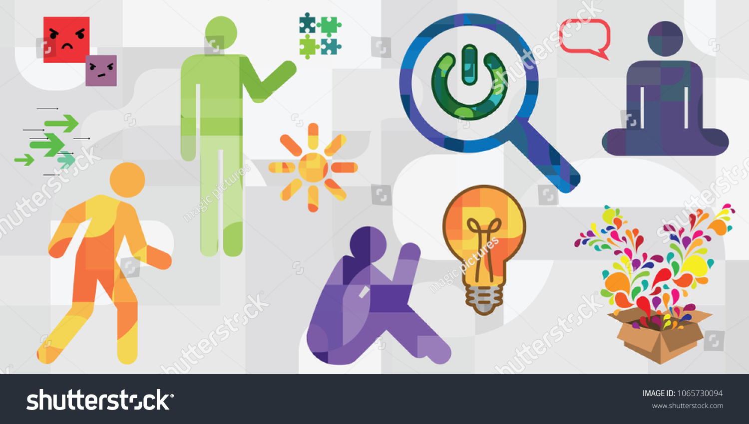 Vector Illustration Human Silhouettes Different Symbols Stock Vector