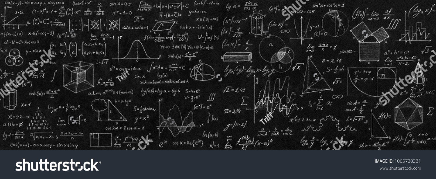 Blackboard inscribed with scientific formulas and calculations in physics and mathematics. Science and education background. #1065730331