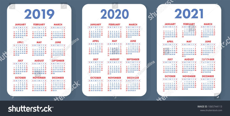 Pocket Calendar Template 2019 2020 2021 Stock Vector Royalty Free