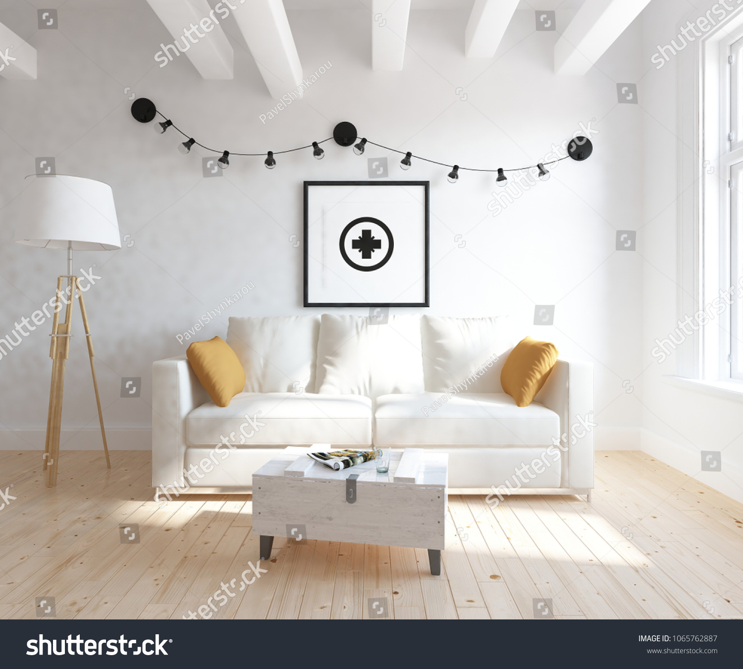 Idea Of A White Scandinavian Room Interior With Sofa, Table On The Wooden  Floor And