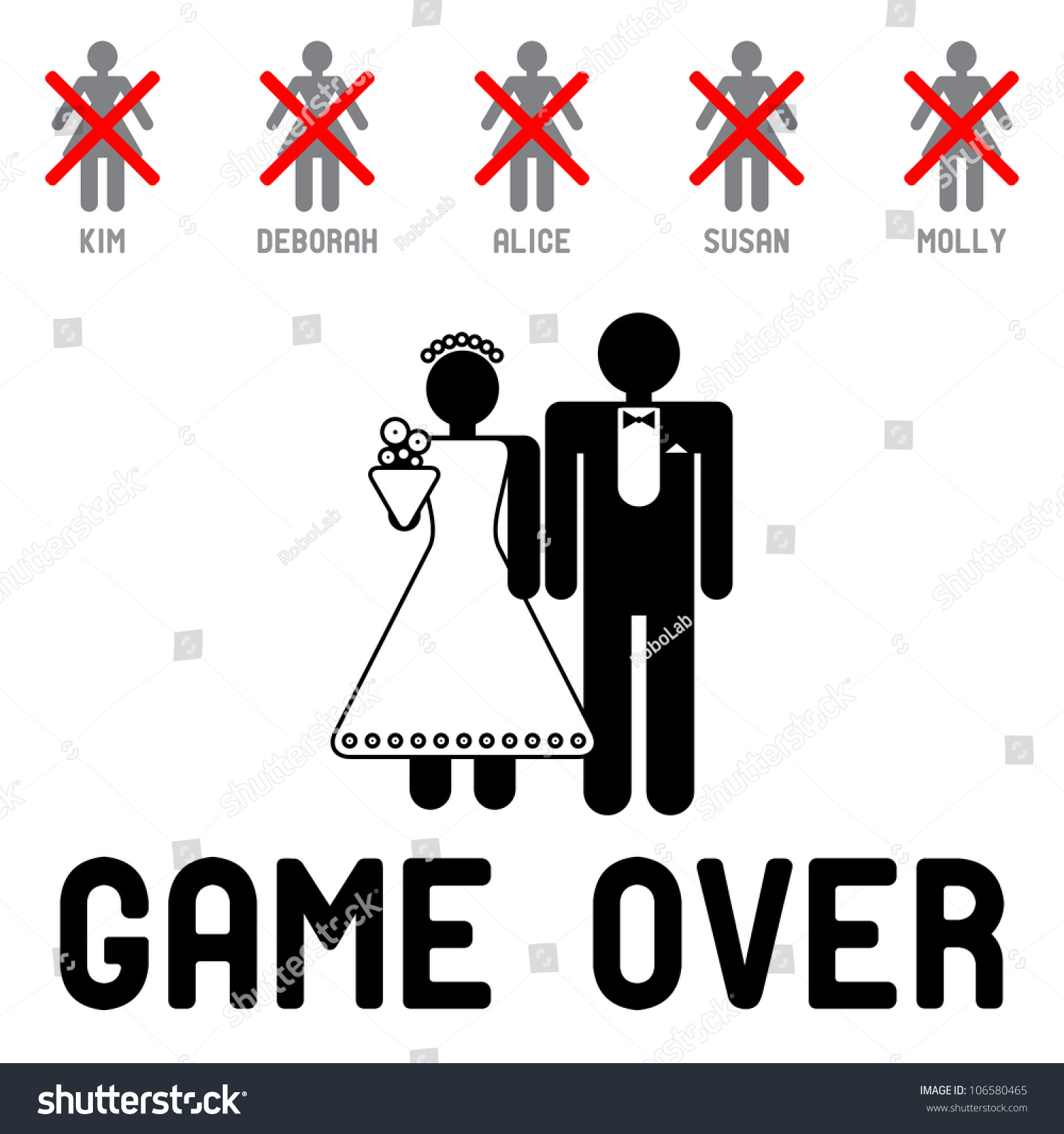 stock vector funny wedding symbols game over