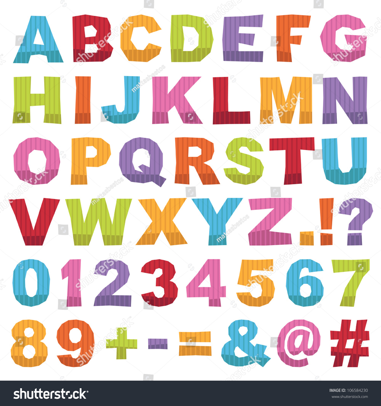 cut out alphabet shapes with letters numbers and punctuation isolated on white