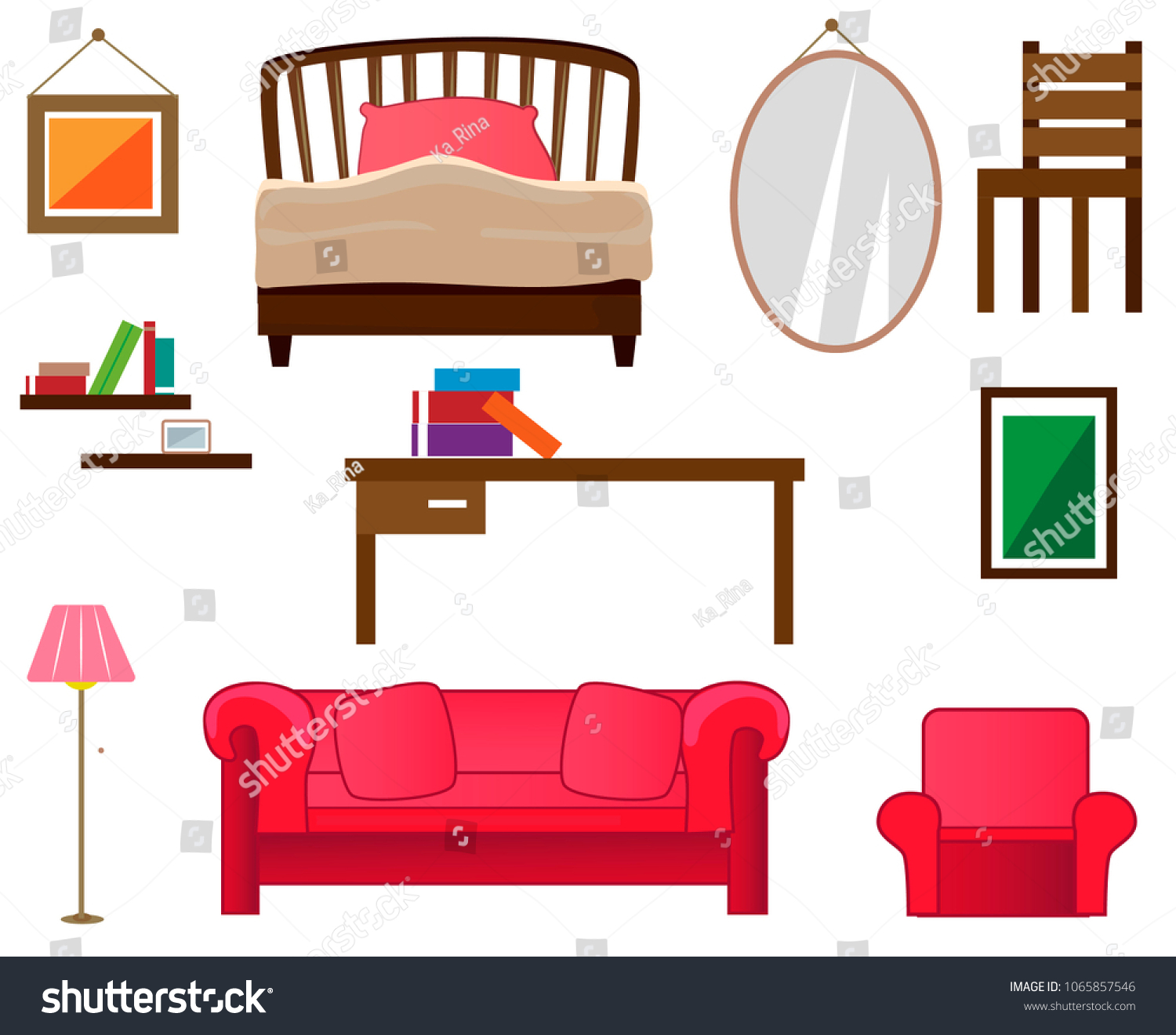 Superb Set Furniture Interior Paintings Bed Mirror Stock Vector Unemploymentrelief Wooden Chair Designs For Living Room Unemploymentrelieforg