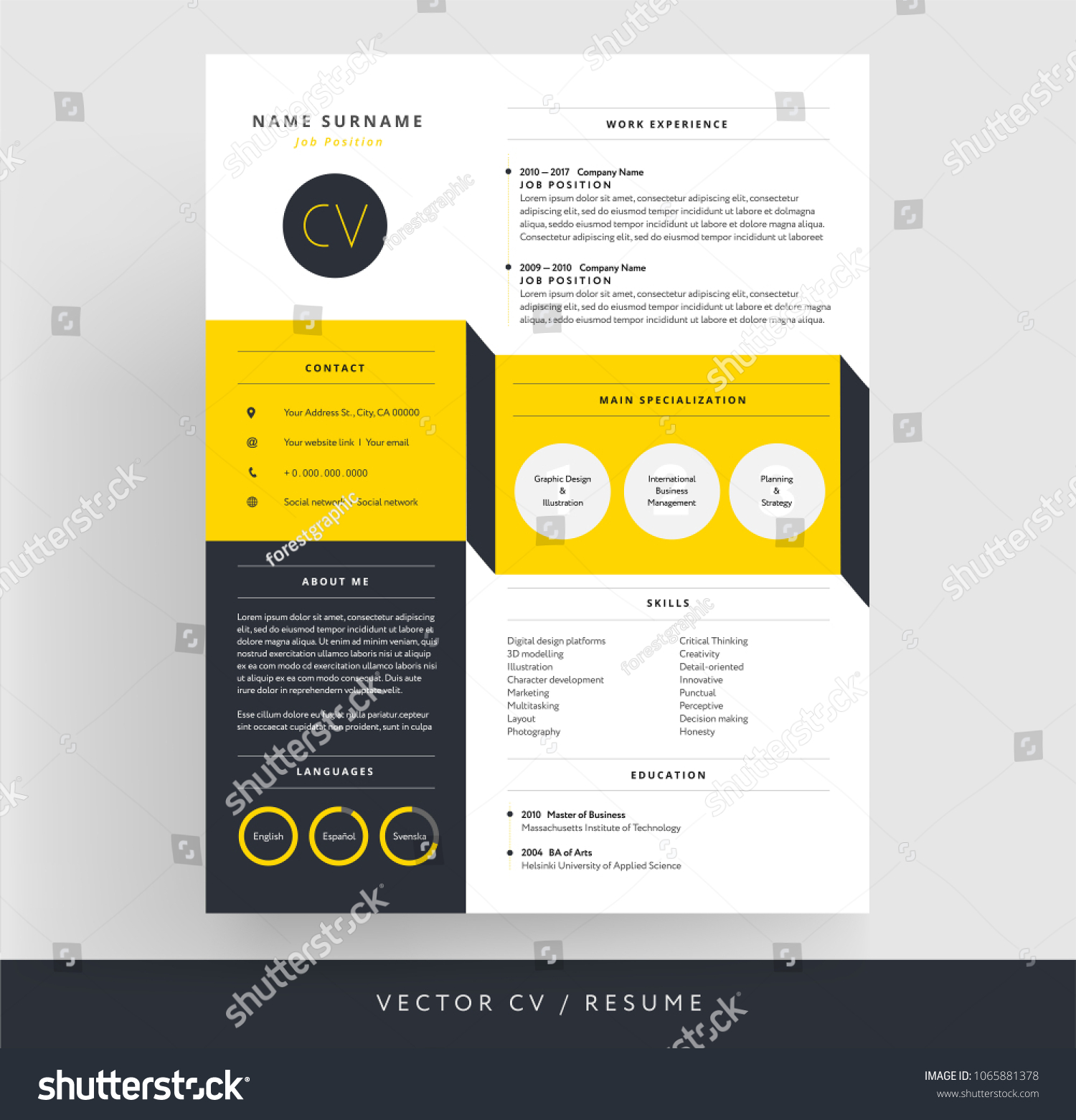 Creative Cv Resume Template Yellow Black Stock Vector Hd Royalty