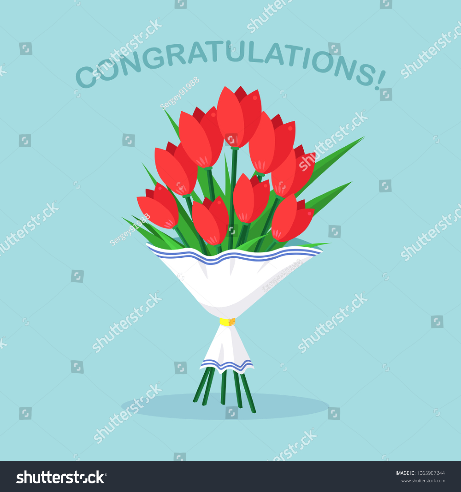 Bouquet Red Tulip Bunch Flowers Isolated Stock Vector 1065907244