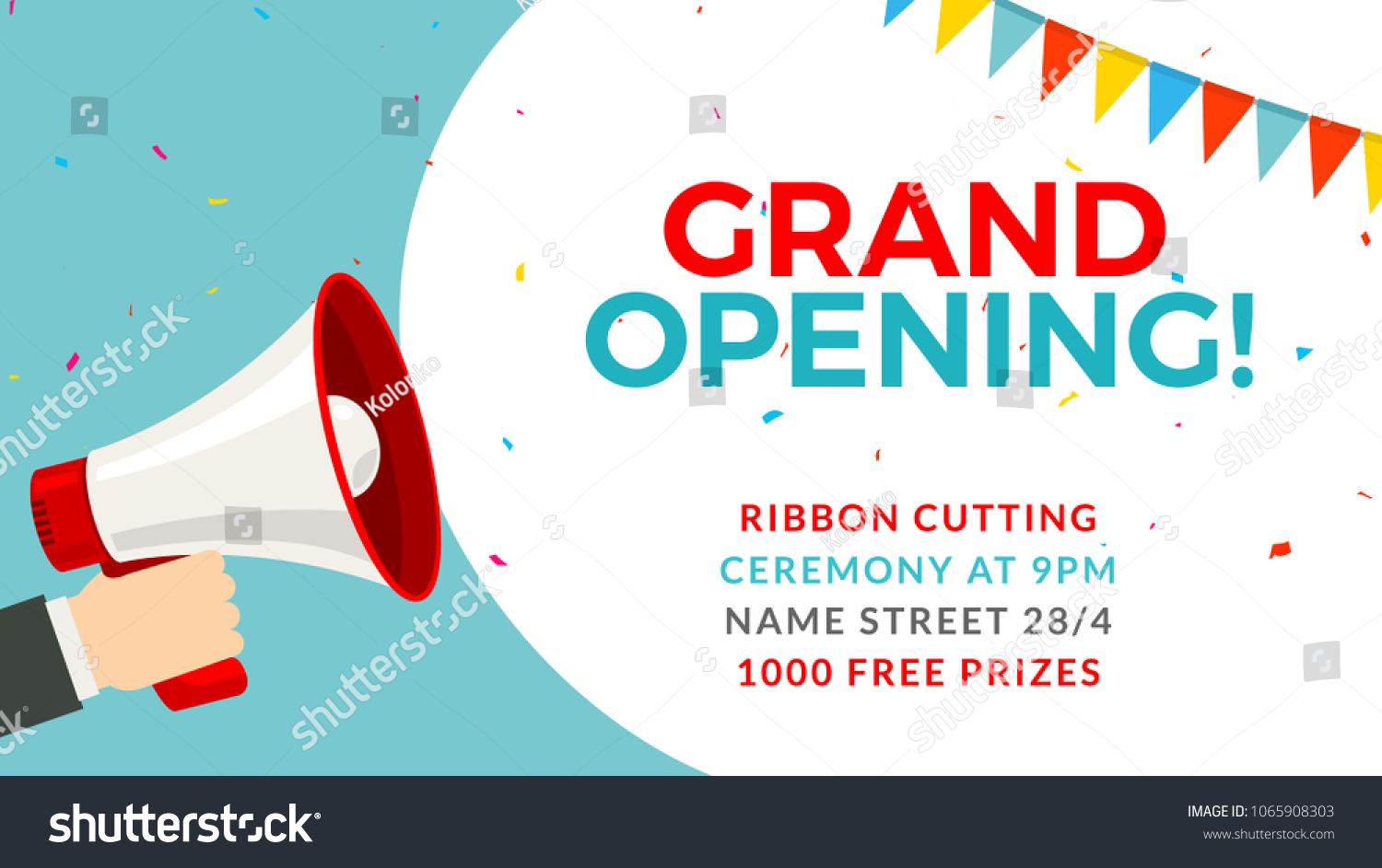 Grand Opening Flyer Banner Template Marketing Stock Vector Royalty
