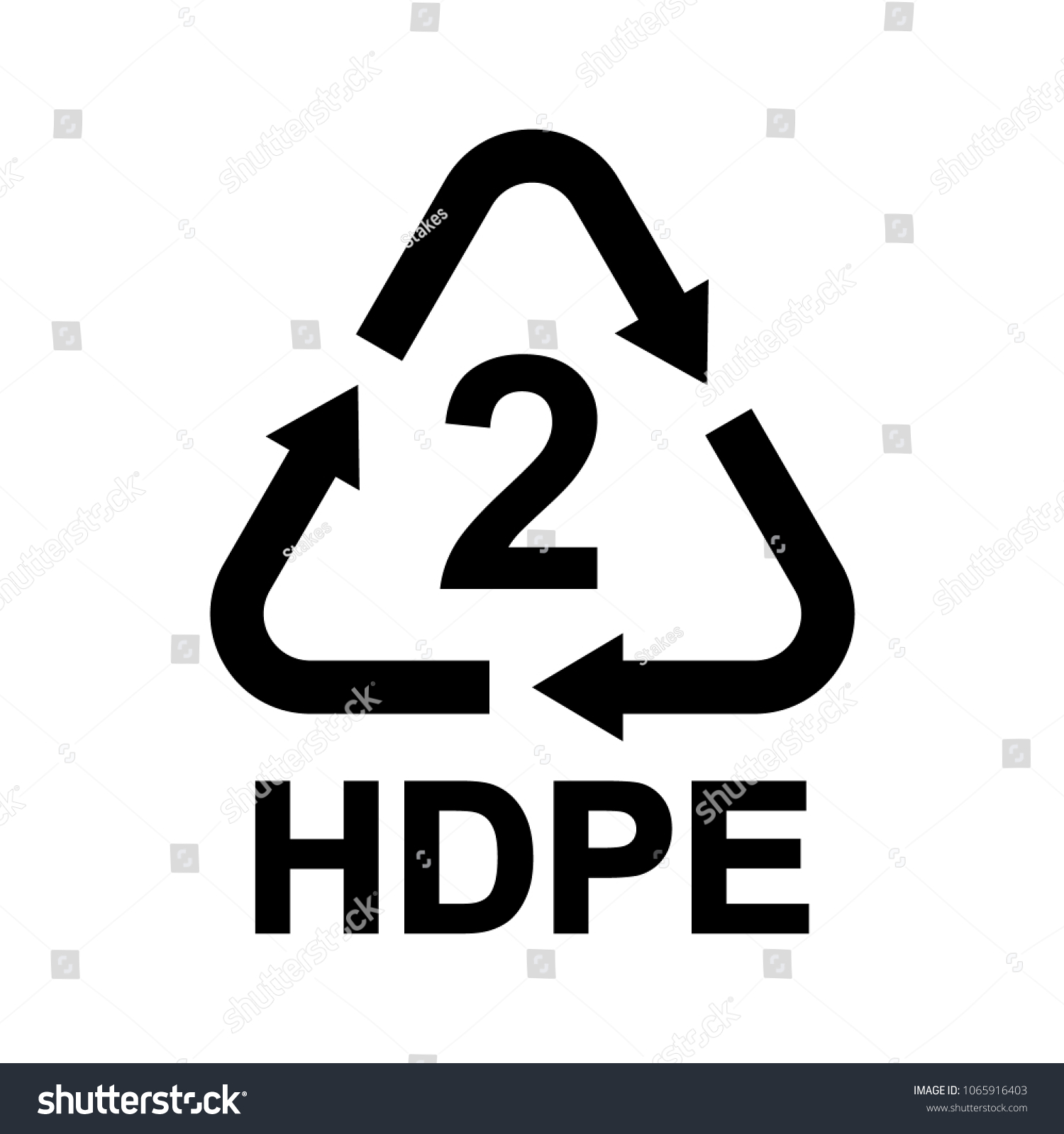 Plastic Recycling Symbol Hdpe 2 Resin Stock Vector Royalty Free