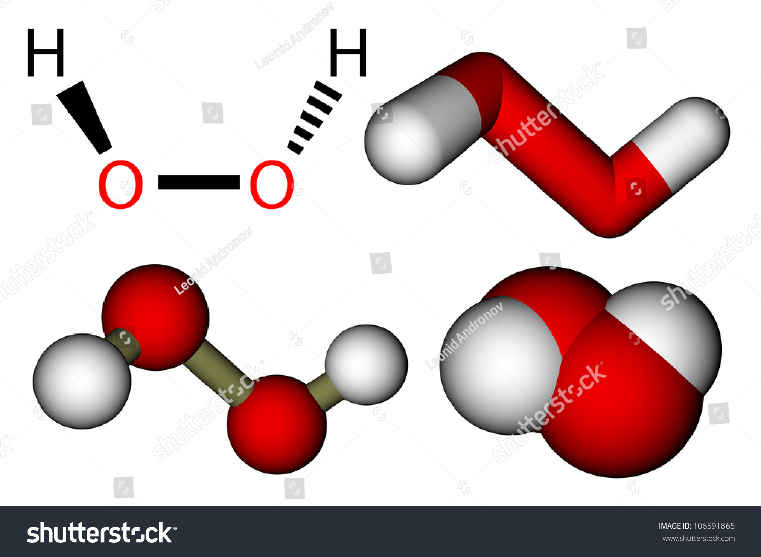 Hydrogen Peroxide  H2o2  Structural Formula And 3d Molecular Models Stock Photo 106591865