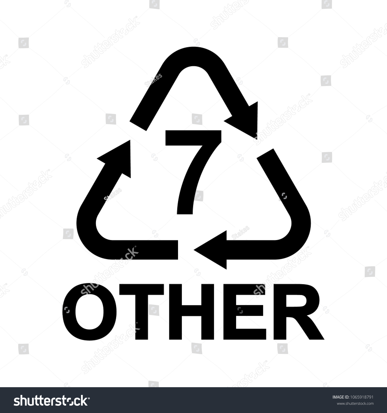 Plastic Recycling Symbol Other 7 Resin Stock Vector Royalty Free