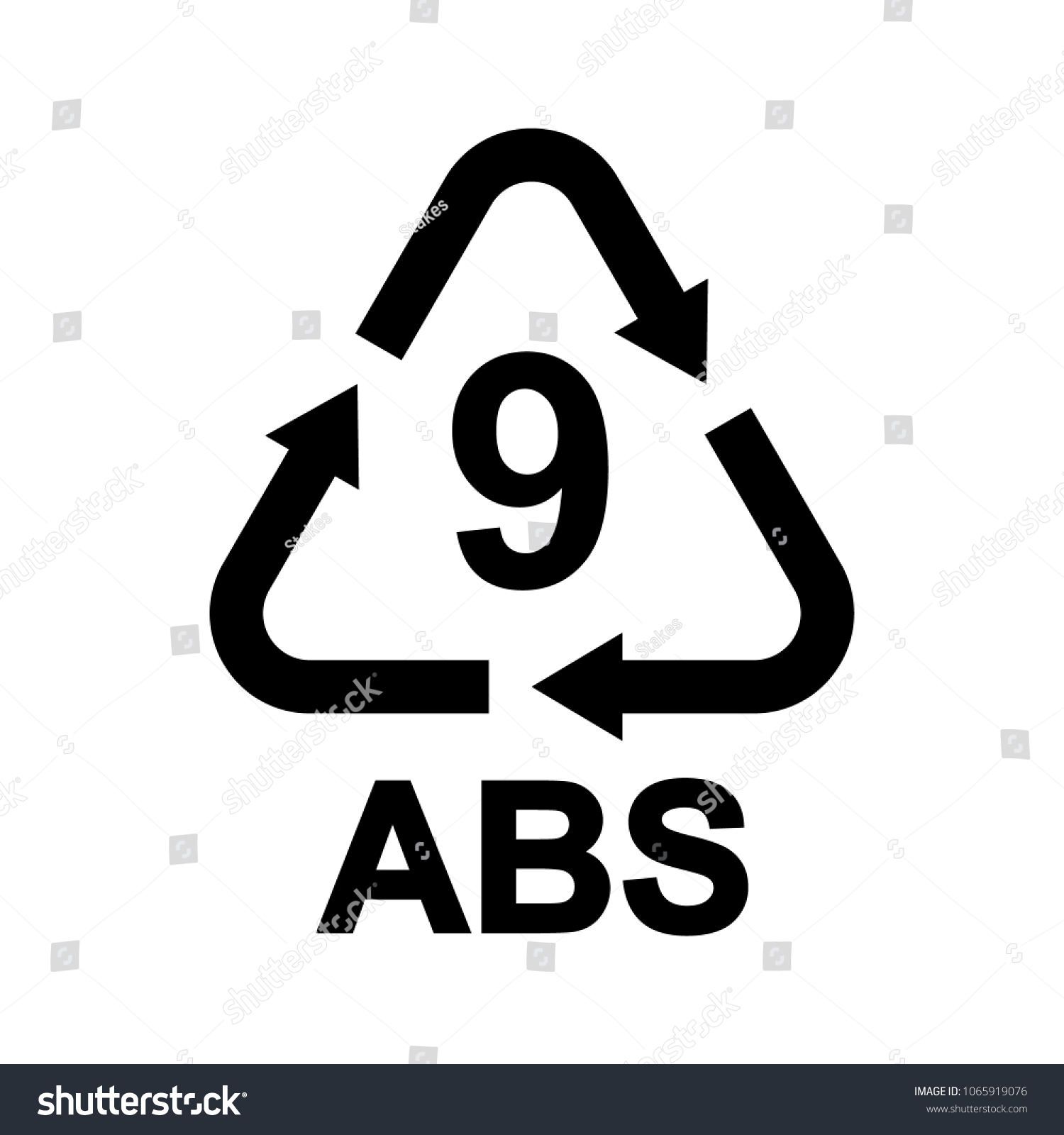 Plastic Recycling Symbol Abs 9 Resin Stock Vector Royalty Free