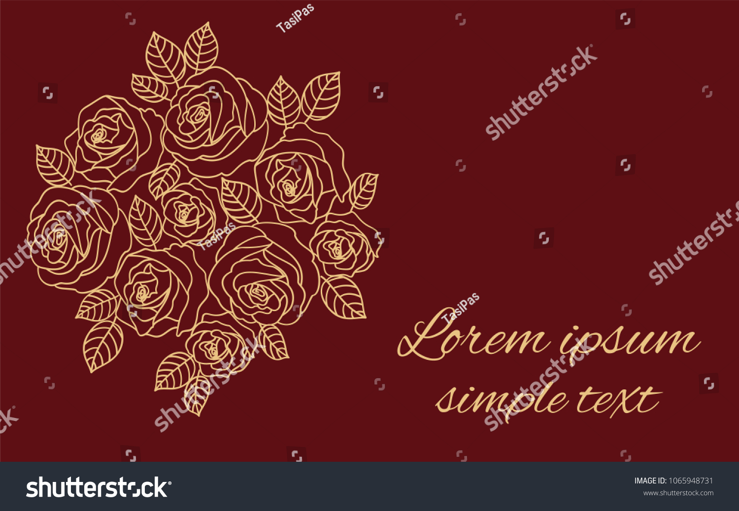 Vector Wedding Invitations Beige Outline Roses Stock Vector (Royalty ...
