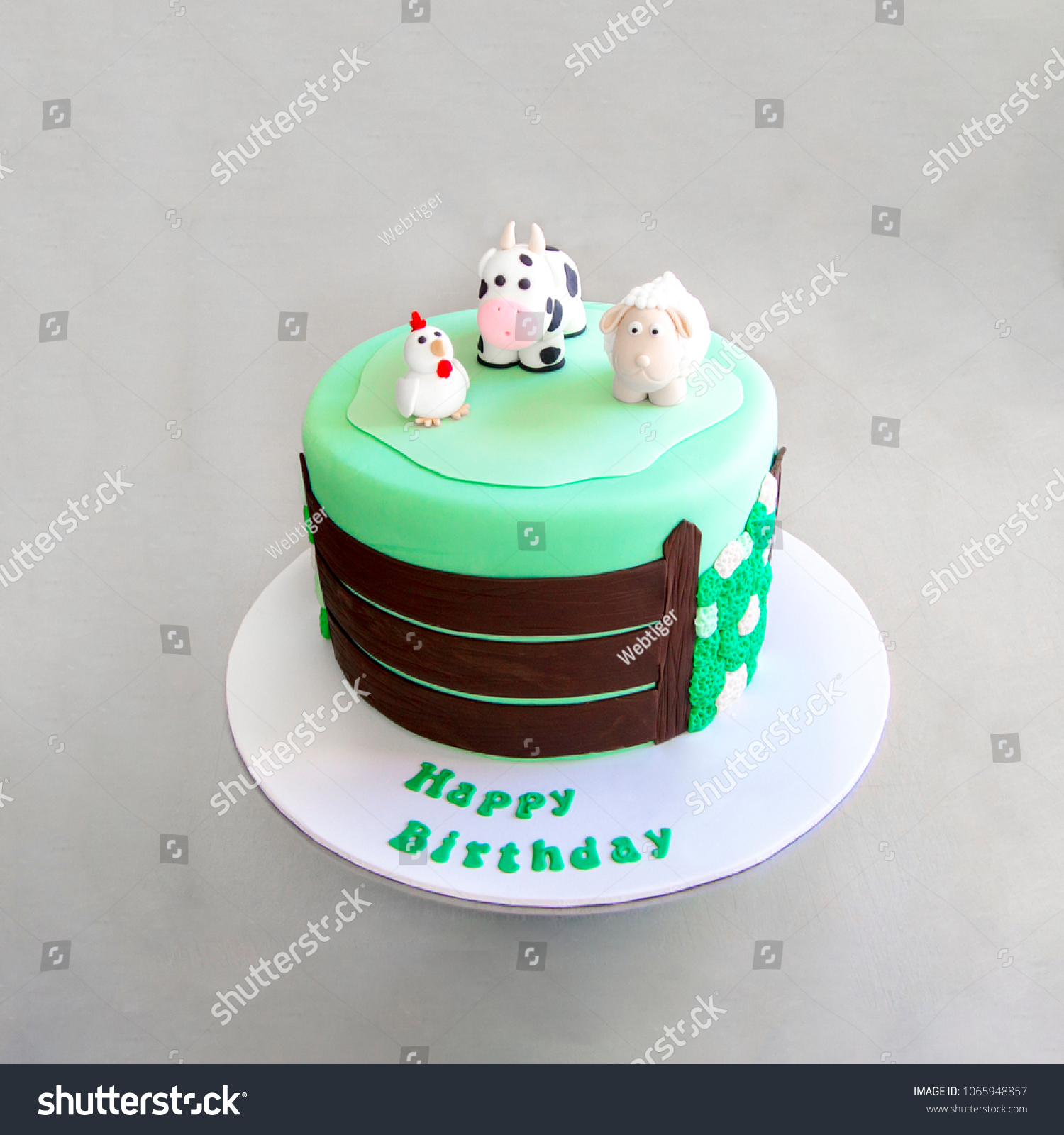 Green Childrens Cake Farm Animals On Stock Photo Edit Now