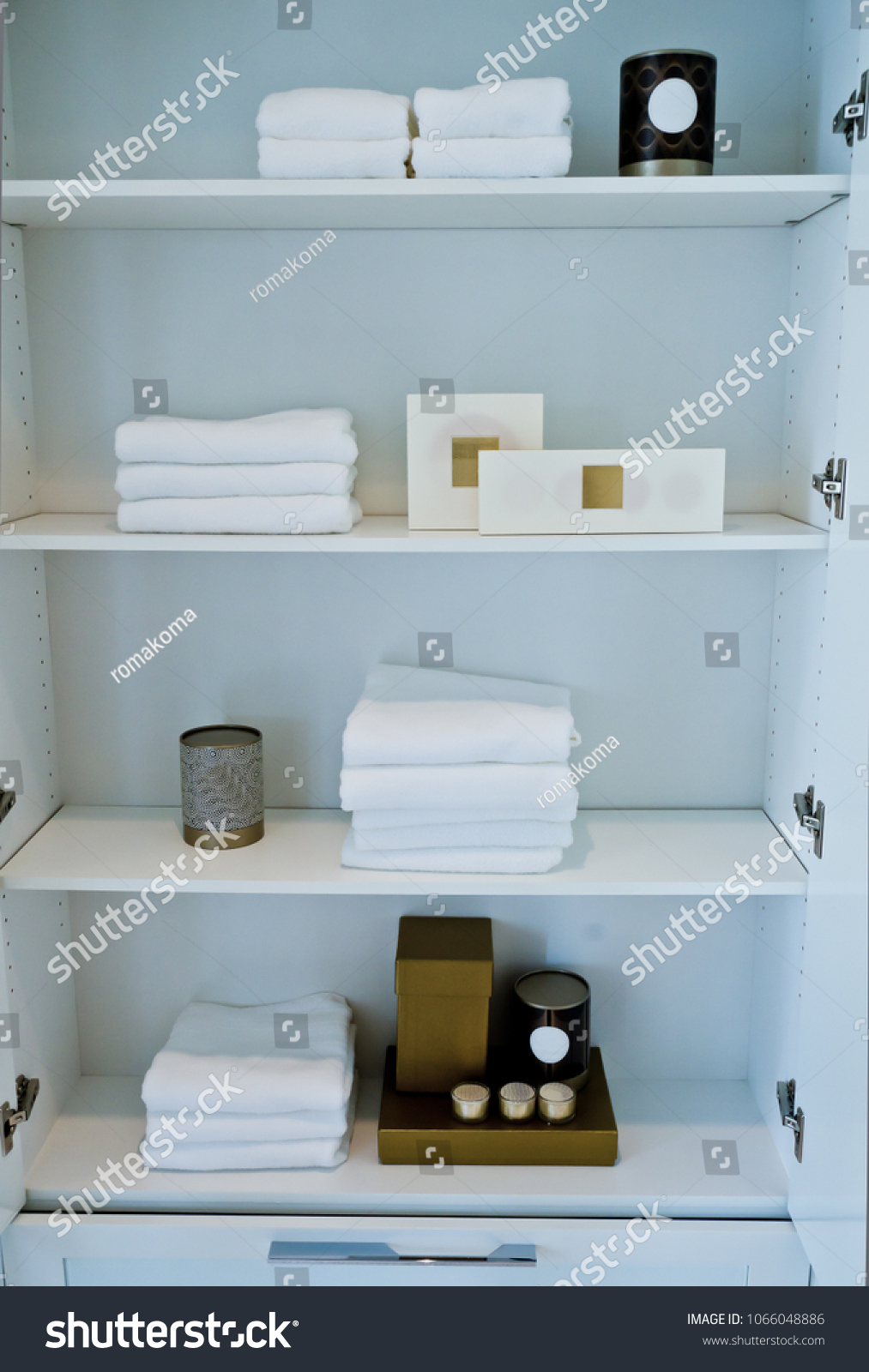 Bathroom Cabinet Racks Well Organized Accessories Stock Photo ...